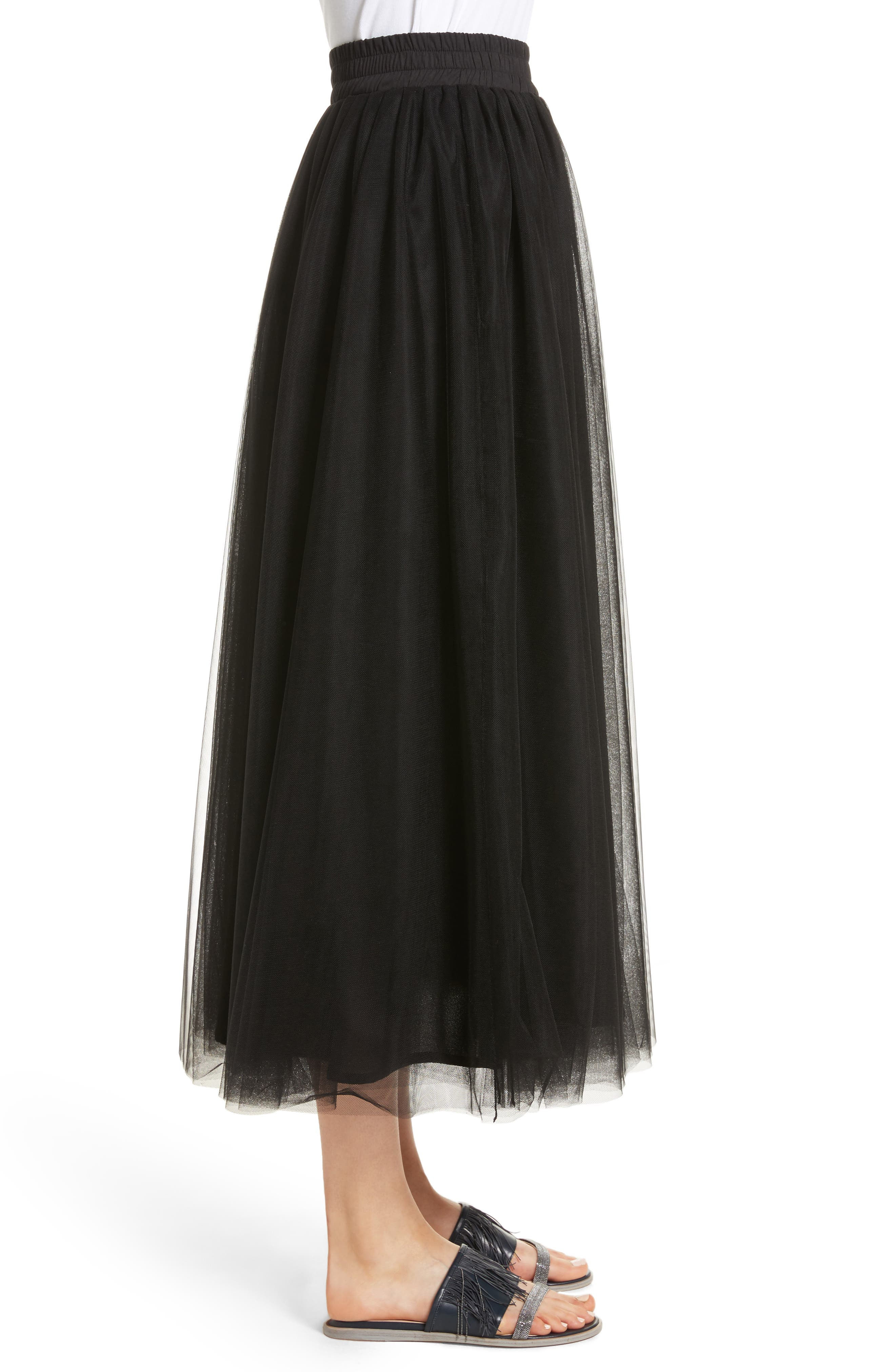 Tulle Midi Skirt,                             Alternate thumbnail 3, color,                             001
