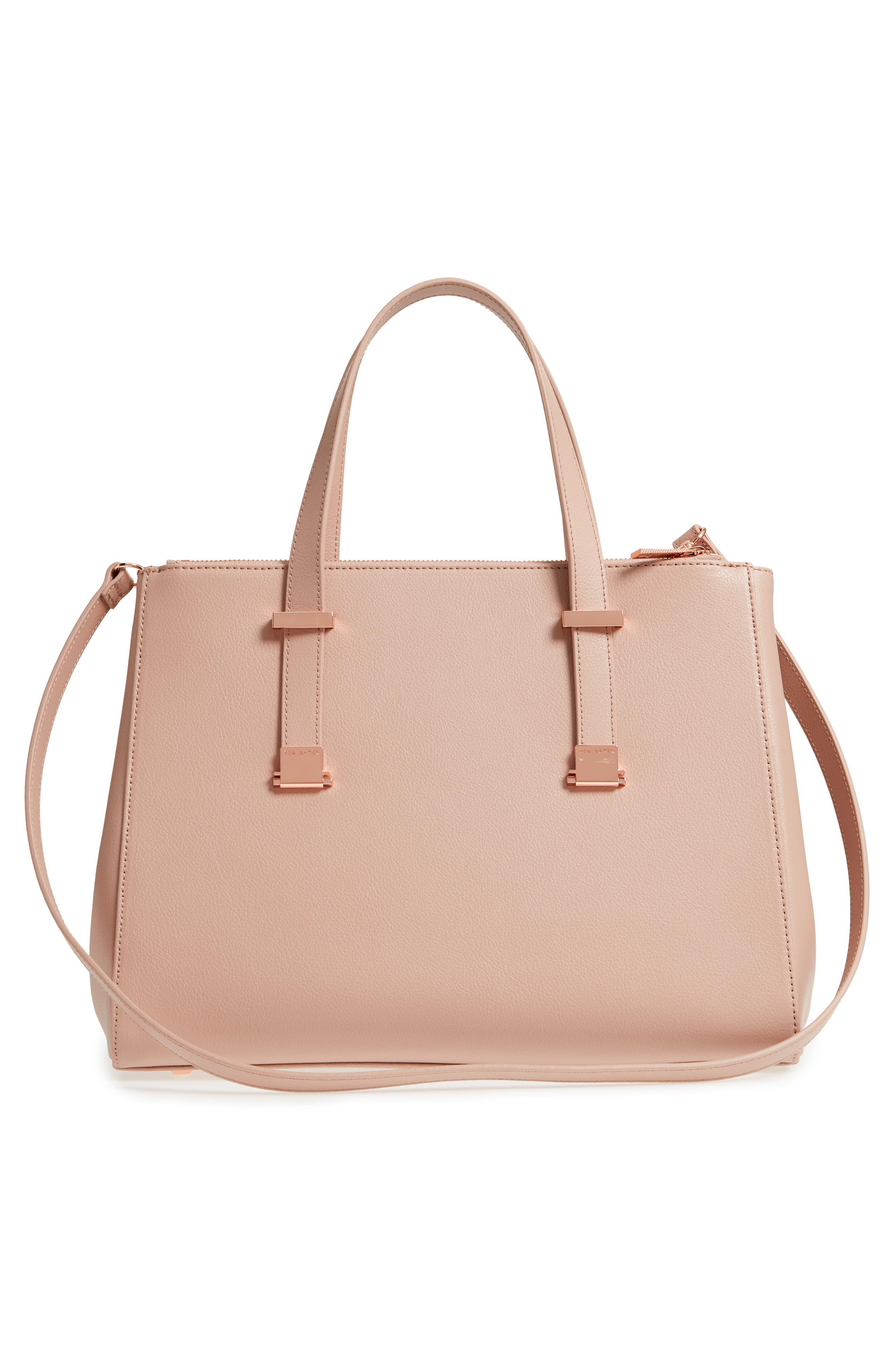 Aminaa Large Adjustable Handle Leather Shopper,                             Alternate thumbnail 3, color,