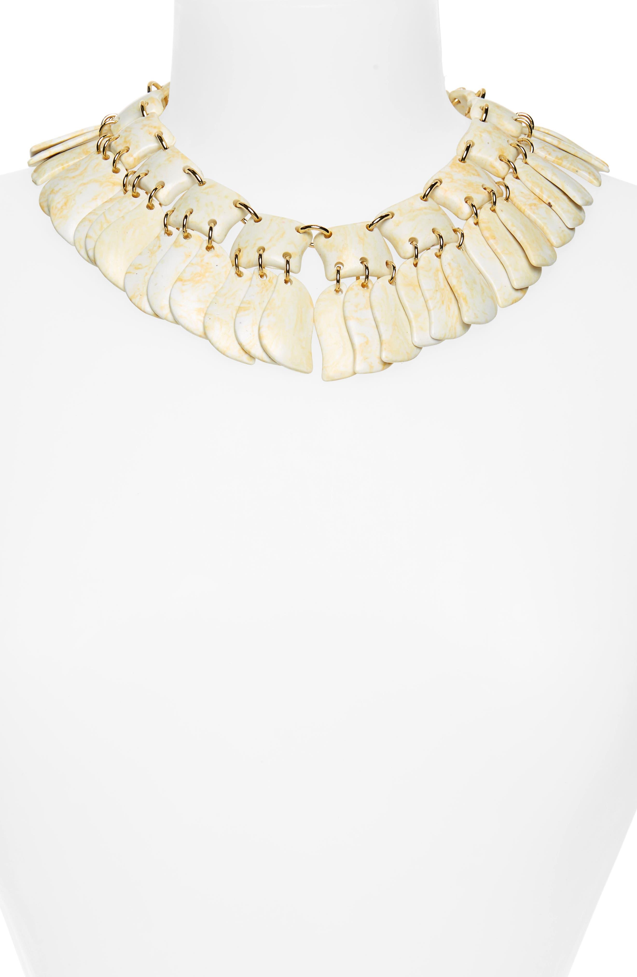 Iris Petal Collar Necklace,                             Alternate thumbnail 2, color,                             BONE