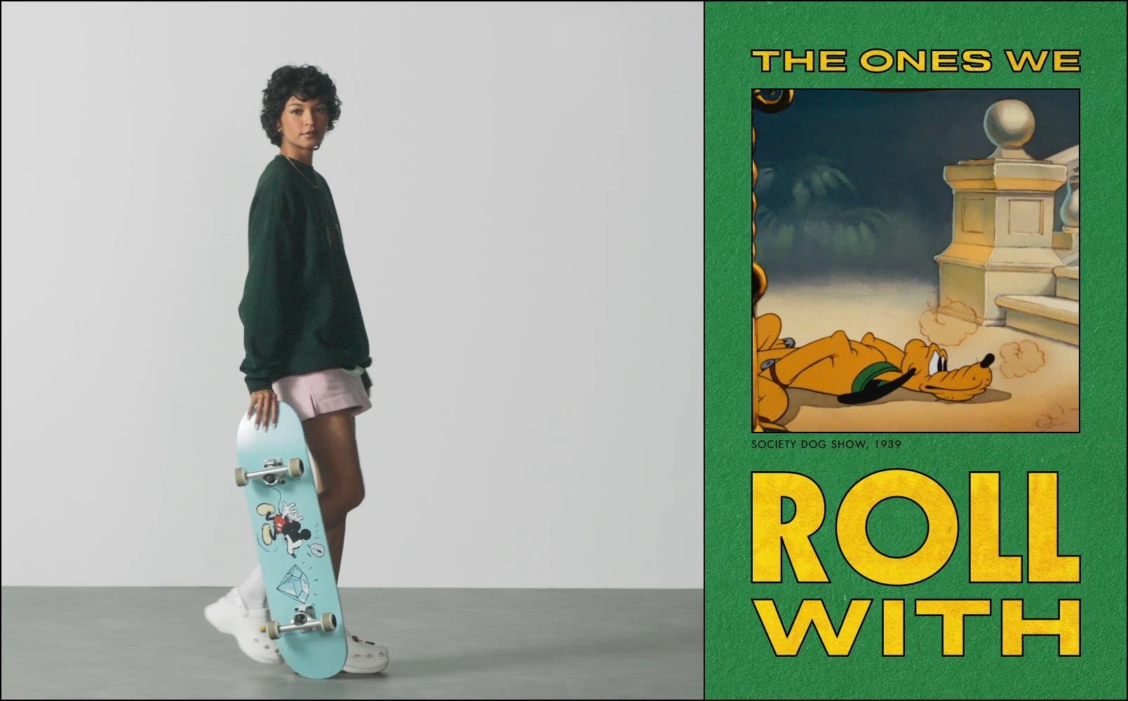 Video of model in Goofy sweatshirt riding Disney skateboard; video of Pluto on roller skates.