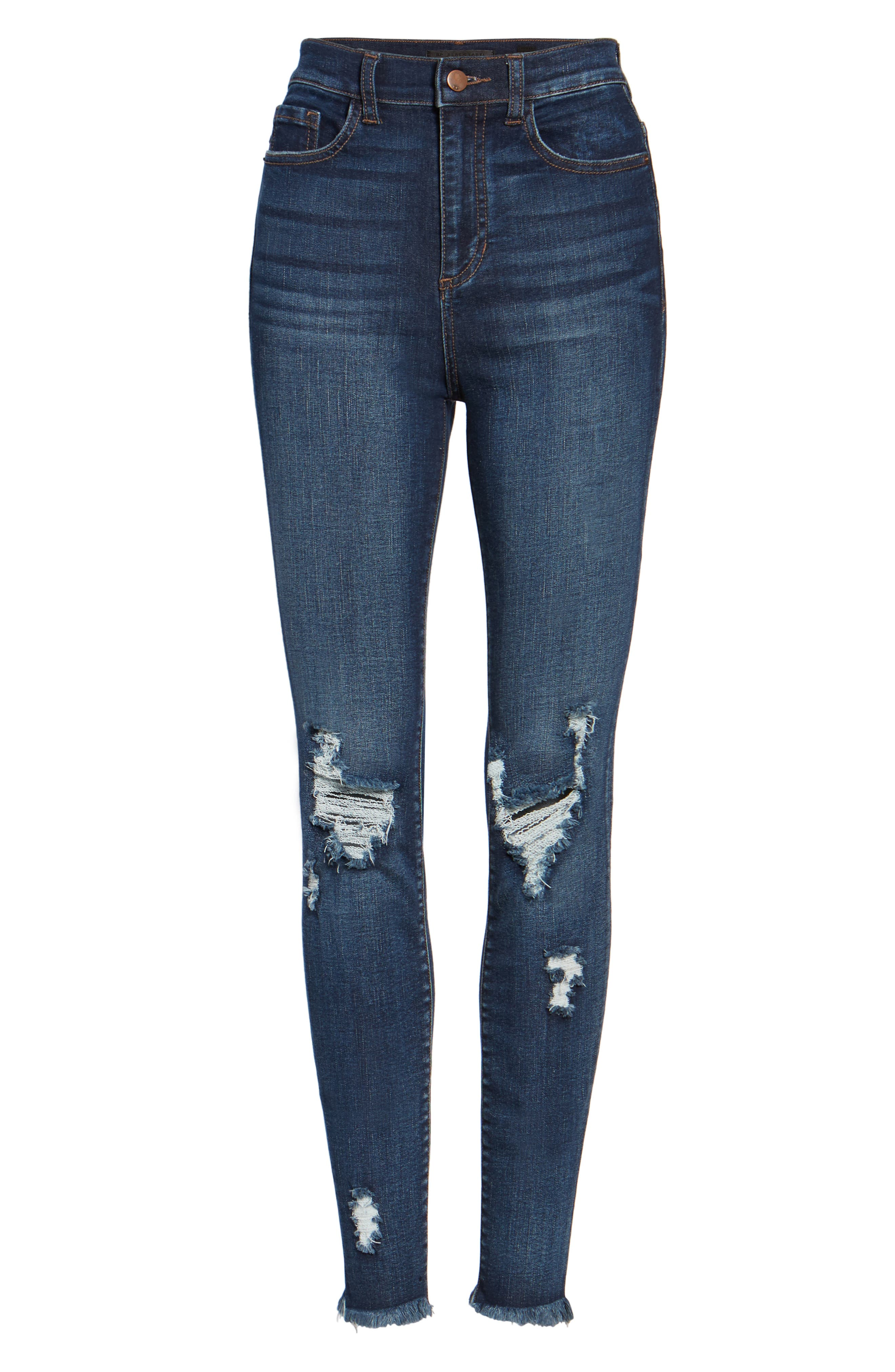 Distressed High Waist Skinny Jeans,                             Alternate thumbnail 6, color,                             409