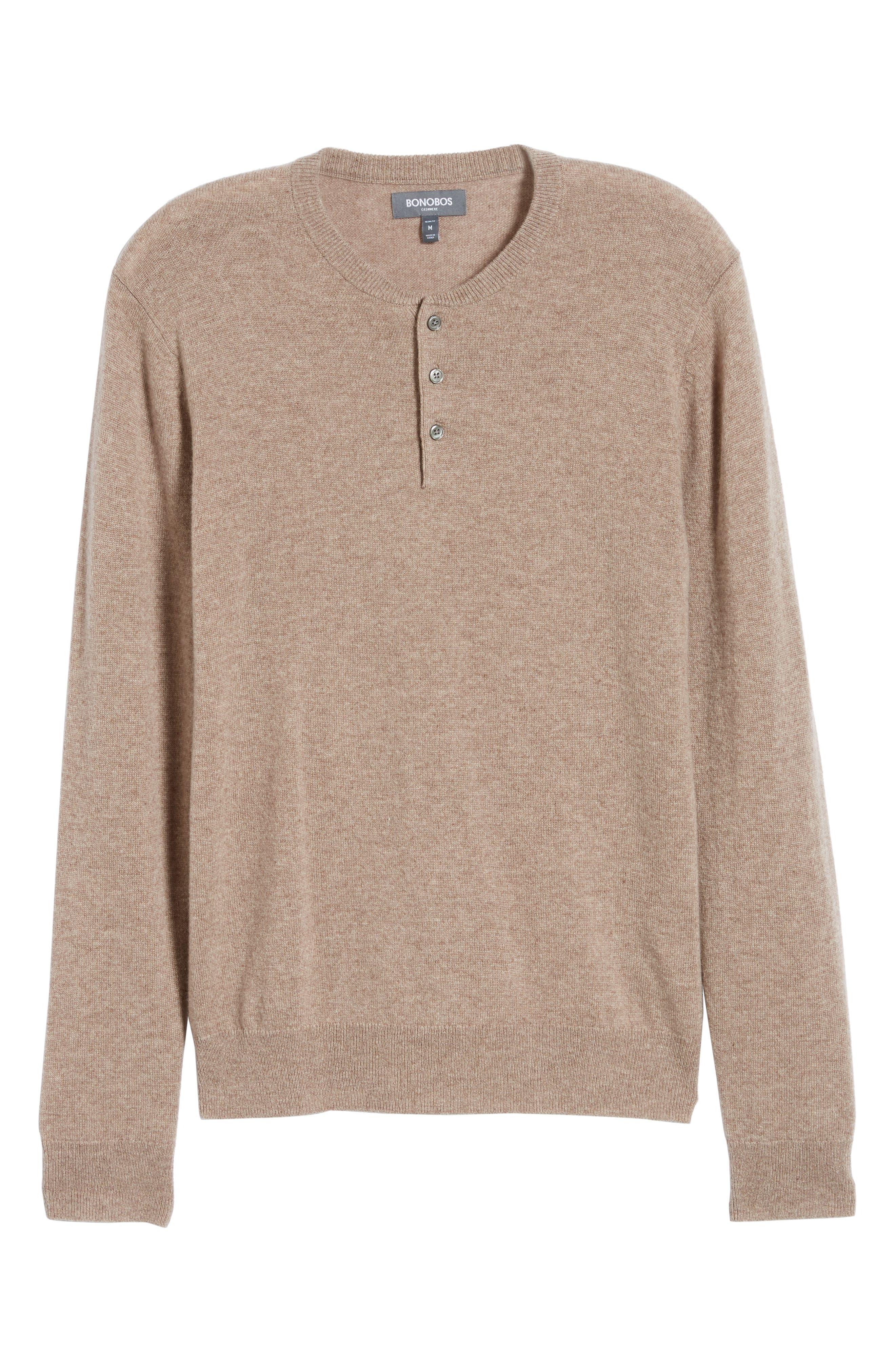 Slim Fit Cashmere Henley Sweater,                             Alternate thumbnail 6, color,                             200