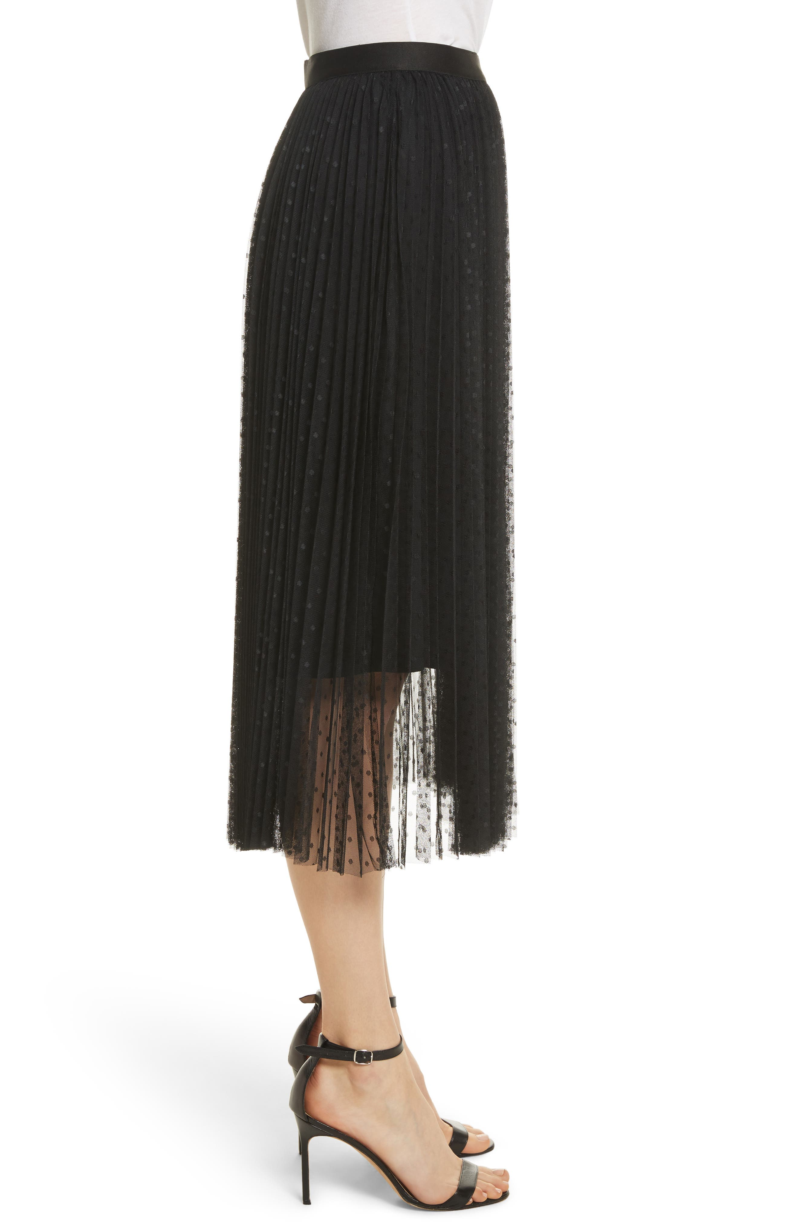 Pleated Polka Dot Mesh Midi Skirt,                             Alternate thumbnail 3, color,                             001