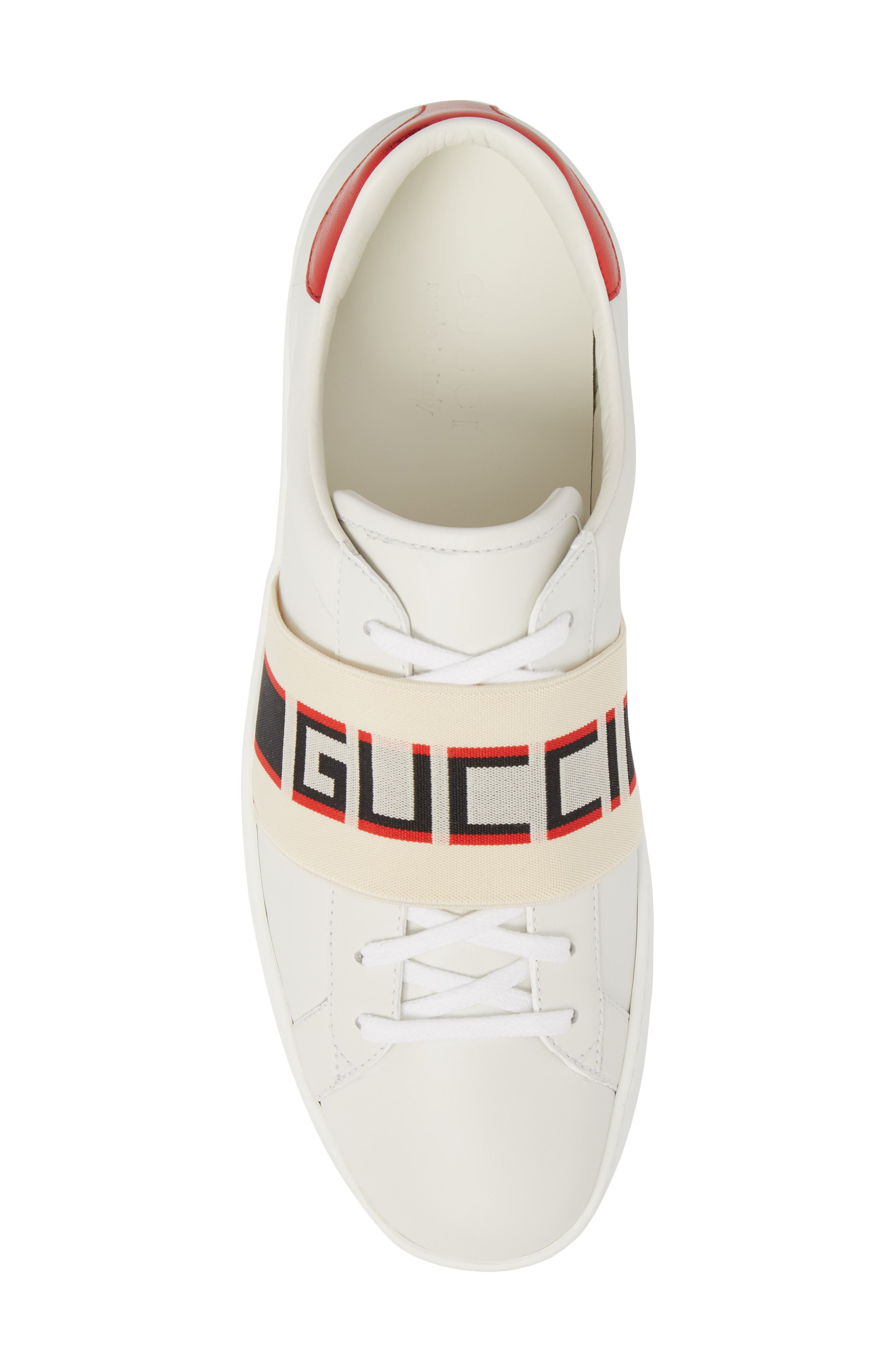 New Ace Stripe Leather Sneaker,                             Alternate thumbnail 5, color,                             BIANCO/ WHITE FLAME