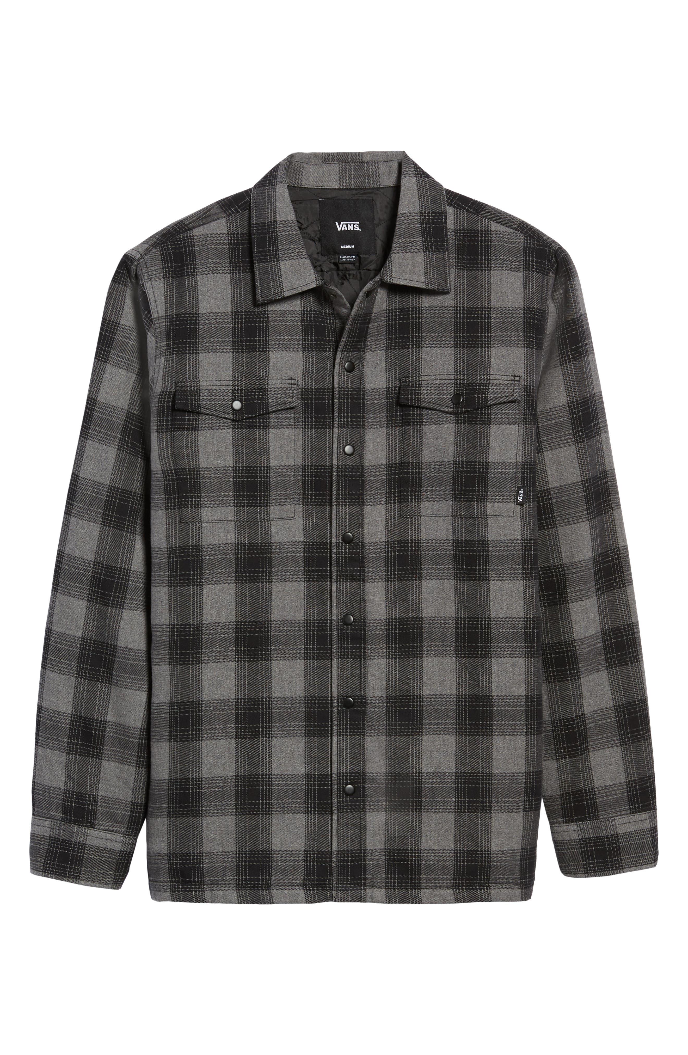 VANS,                             Parnell Plaid Shirt Jacket,                             Alternate thumbnail 6, color,                             GRAVEL HEATHER