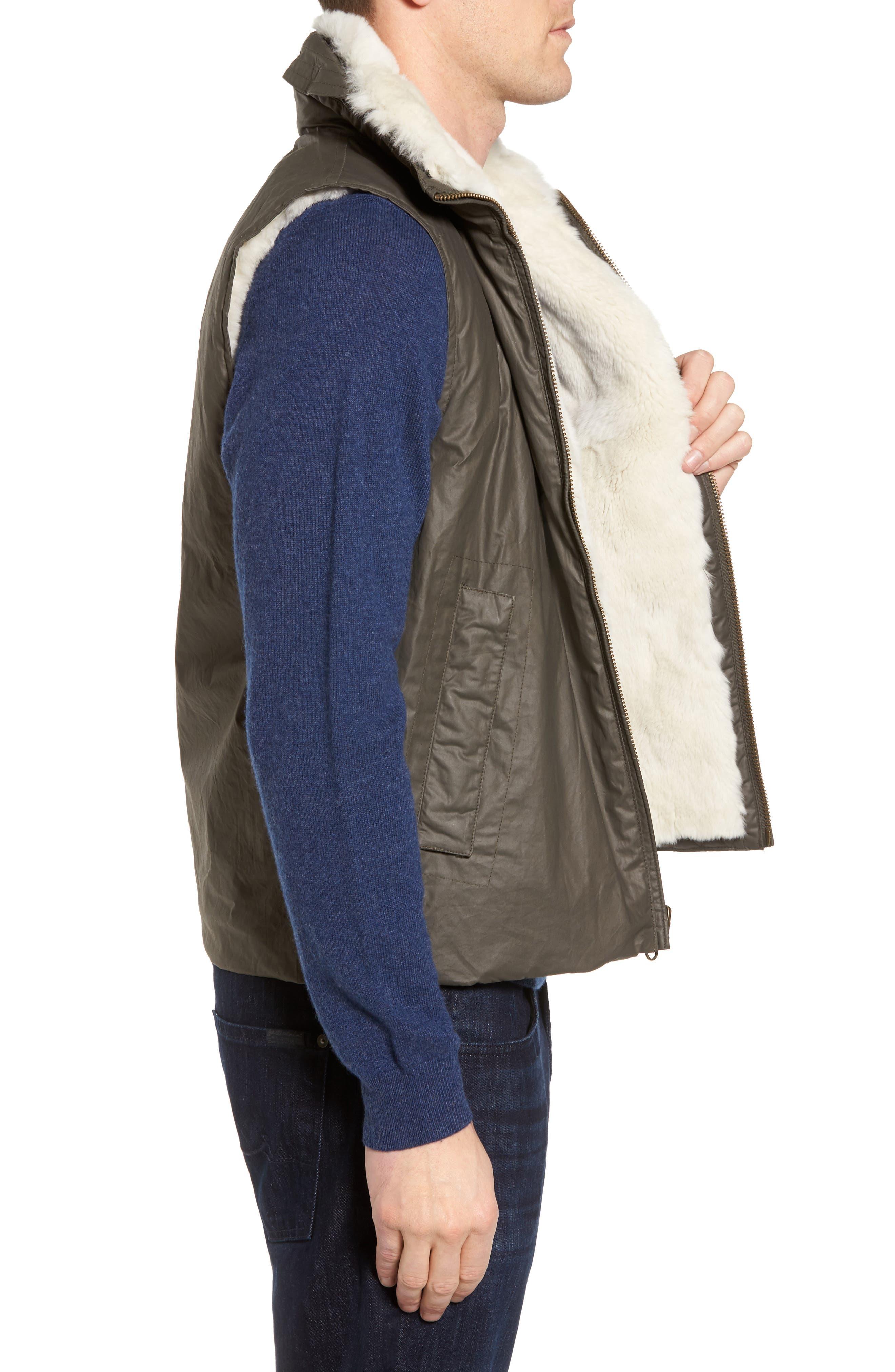 Water-Resistant Genuine Rabbit Fur Lined Vest,                             Alternate thumbnail 3, color,