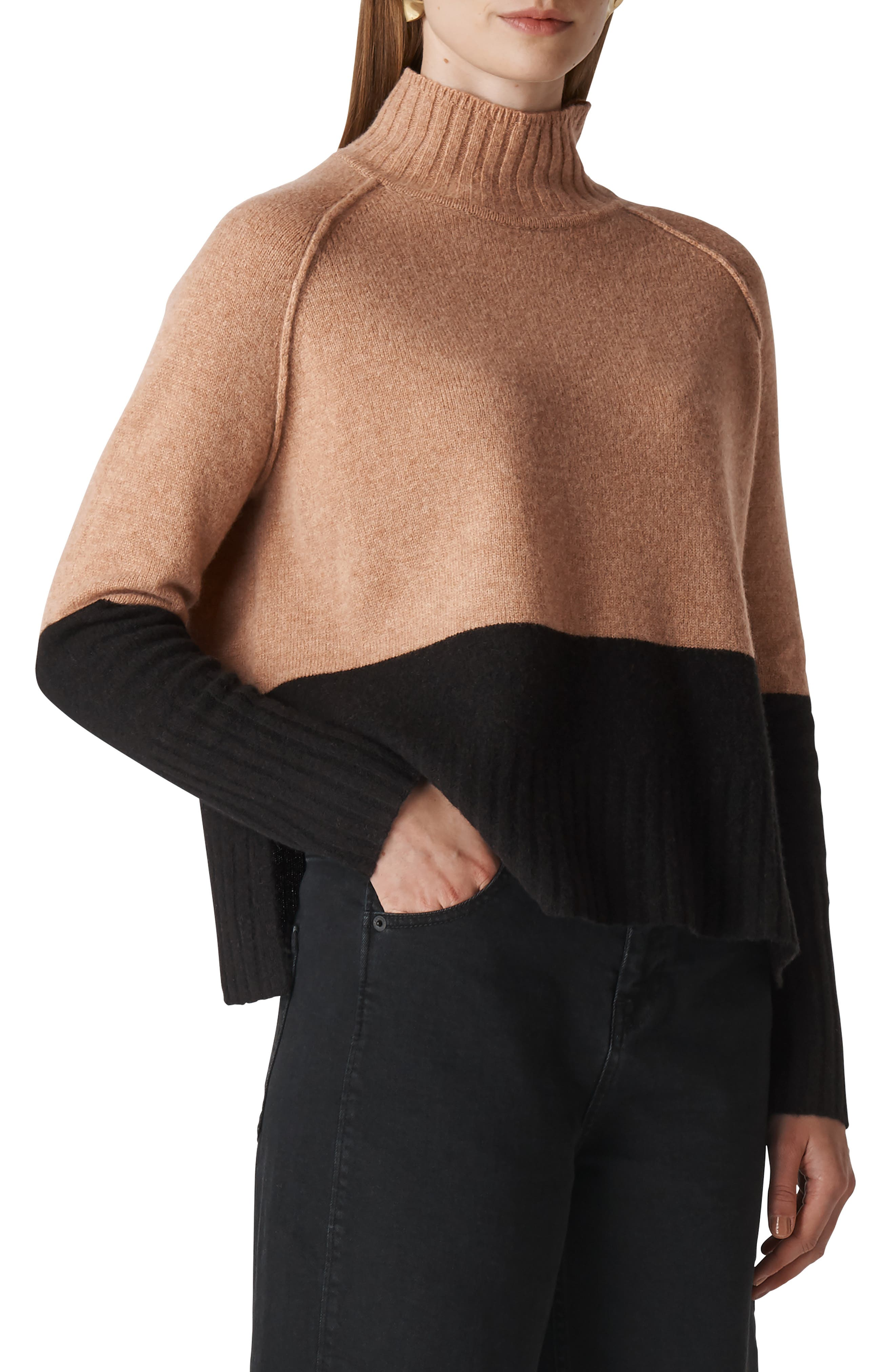WHISTLES Color-Blocked Merino Wool Sweater in Black