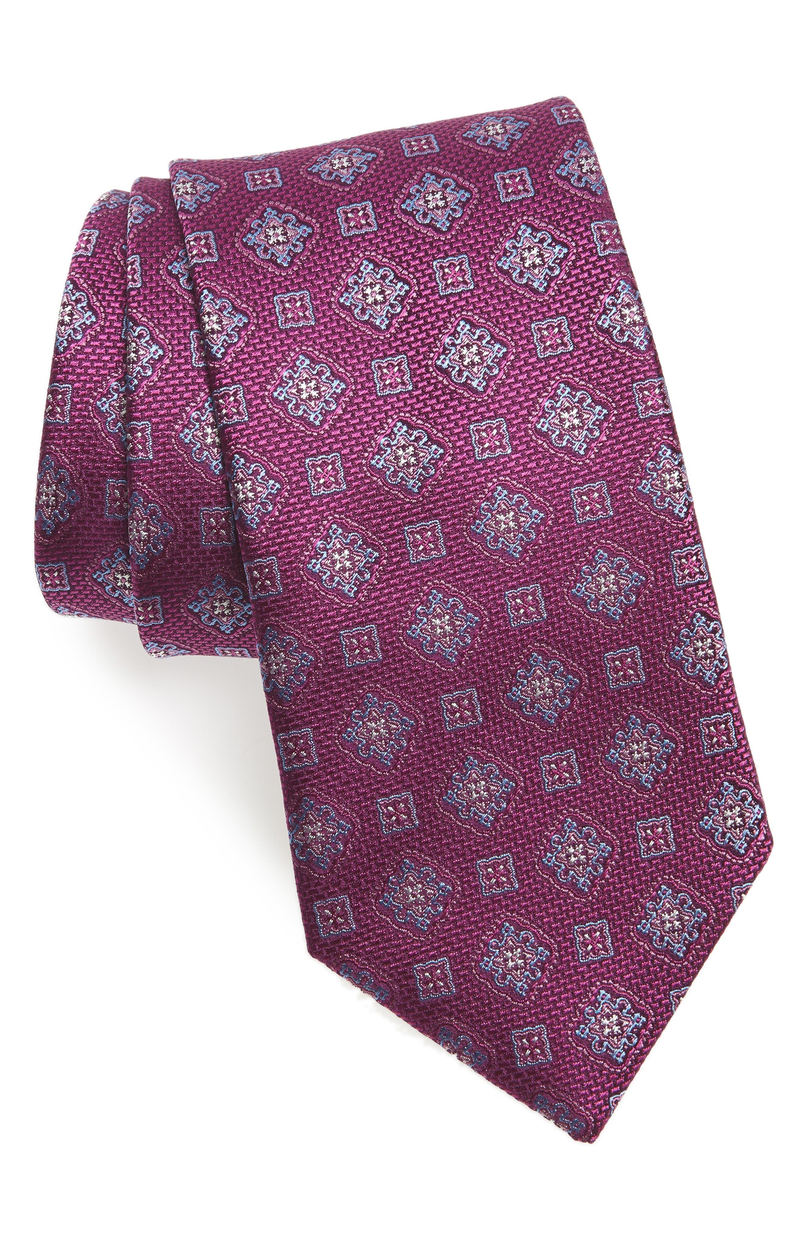 Medallion Silk Tie,                             Main thumbnail 1, color,                             BERRY