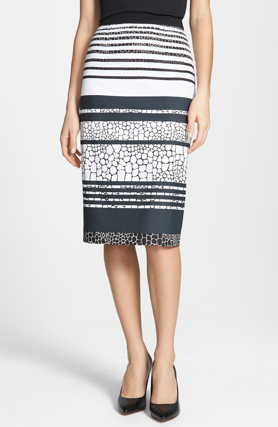 Print Pencil Skirt,                             Main thumbnail 4, color,