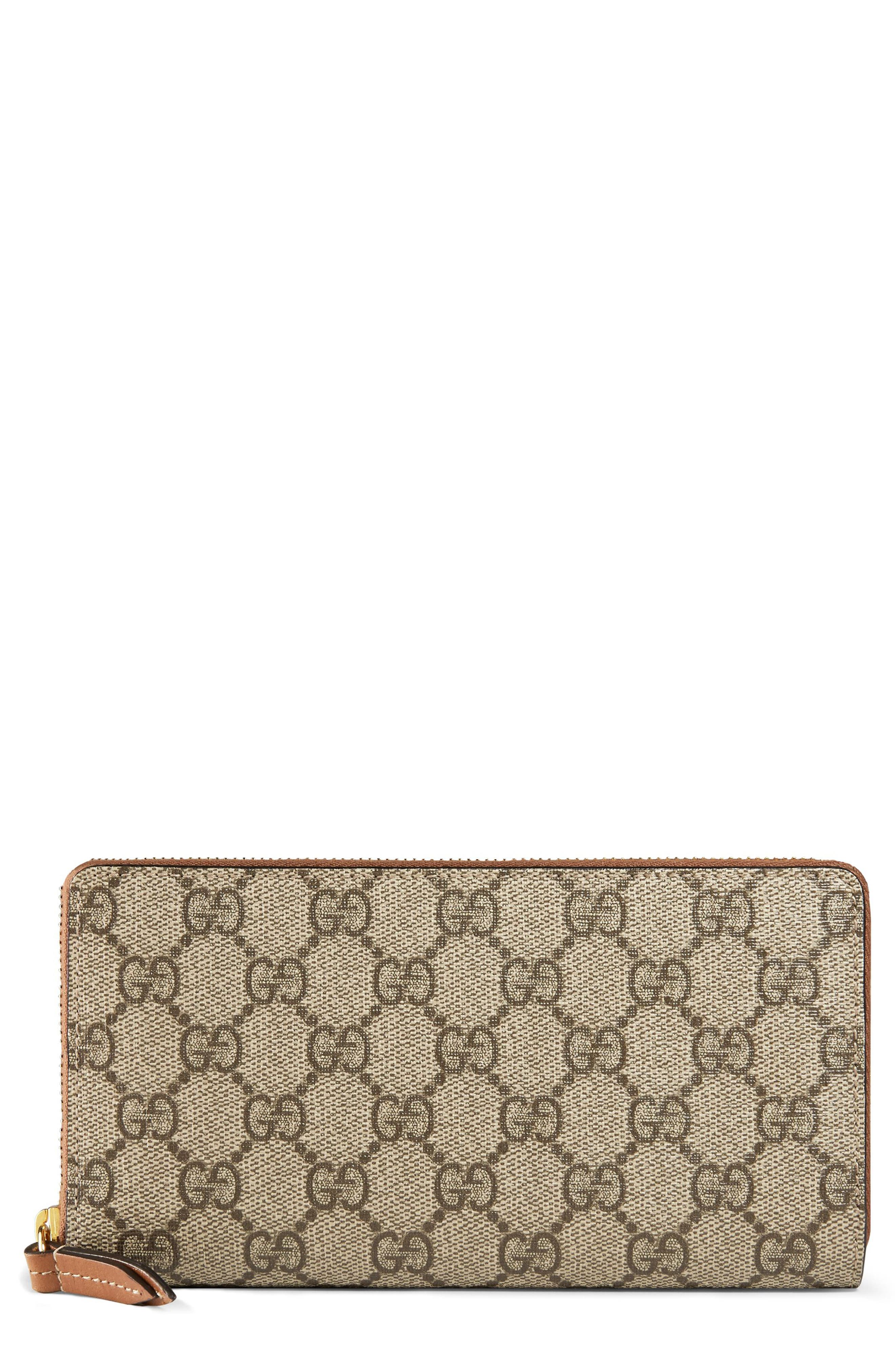GG Supreme Zip Around Canvas Wallet,                         Main,                         color, BEIGE/EBONY/CUIR