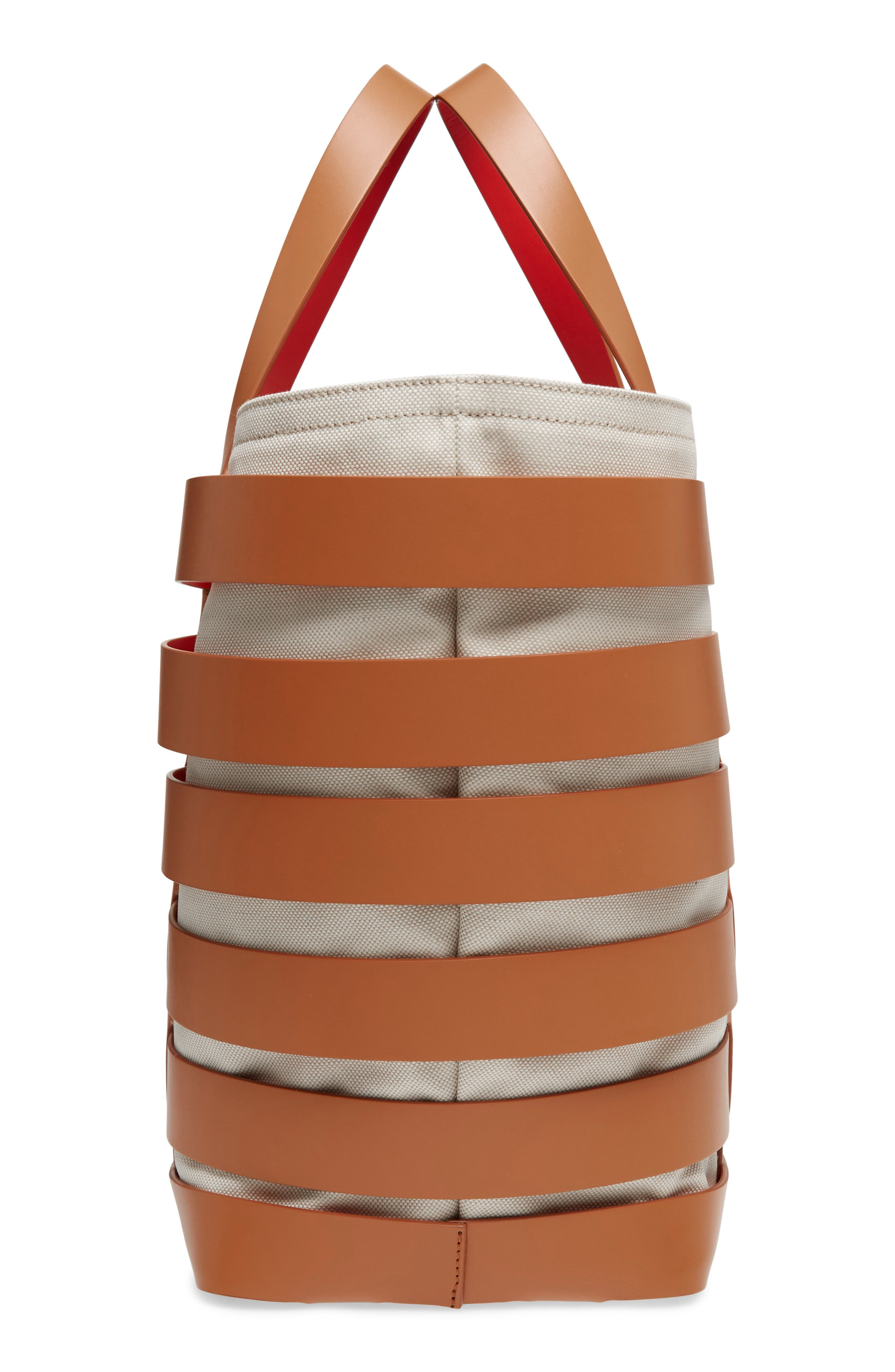 Cage Leather & Canvas Tote,                             Alternate thumbnail 5, color,                             CAMEL