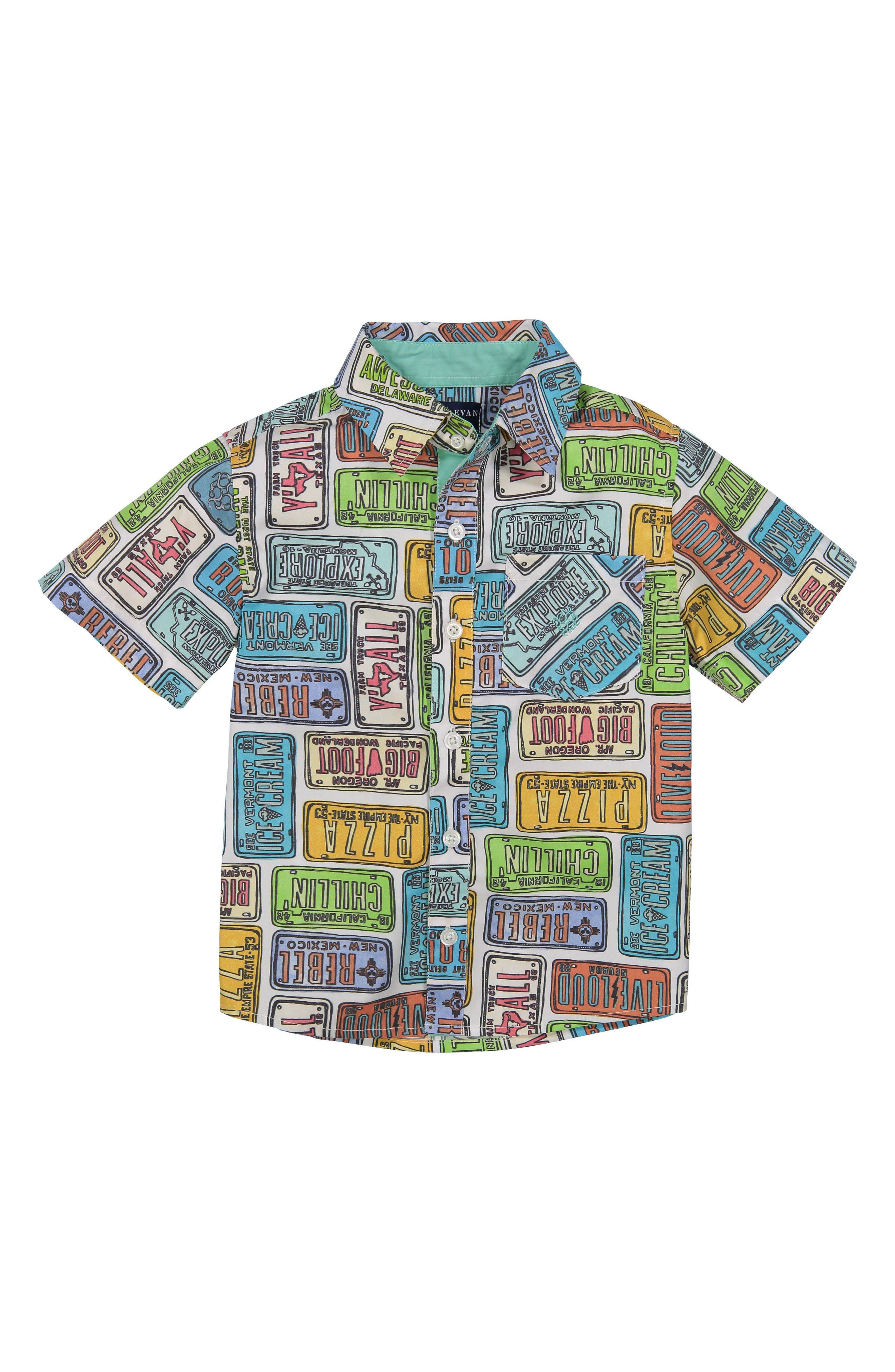 License Plate Woven Shirt,                             Main thumbnail 1, color,                             RED