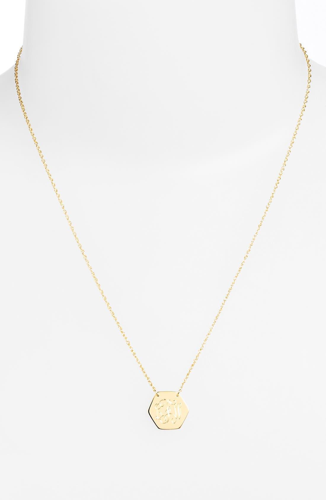Personalized Hexagon Pendant Necklace,                             Alternate thumbnail 5, color,                             GOLD