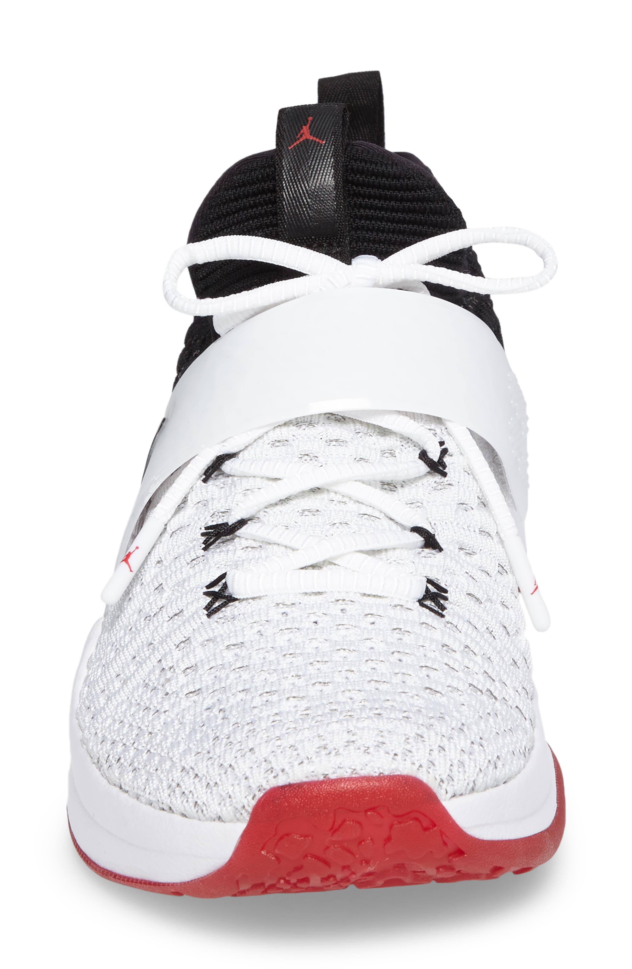 Jordan Flyknit Trainer 2 Low Sneaker,                             Alternate thumbnail 4, color,                             WHITE/ BLACK/ BLACK/ GYM RED
