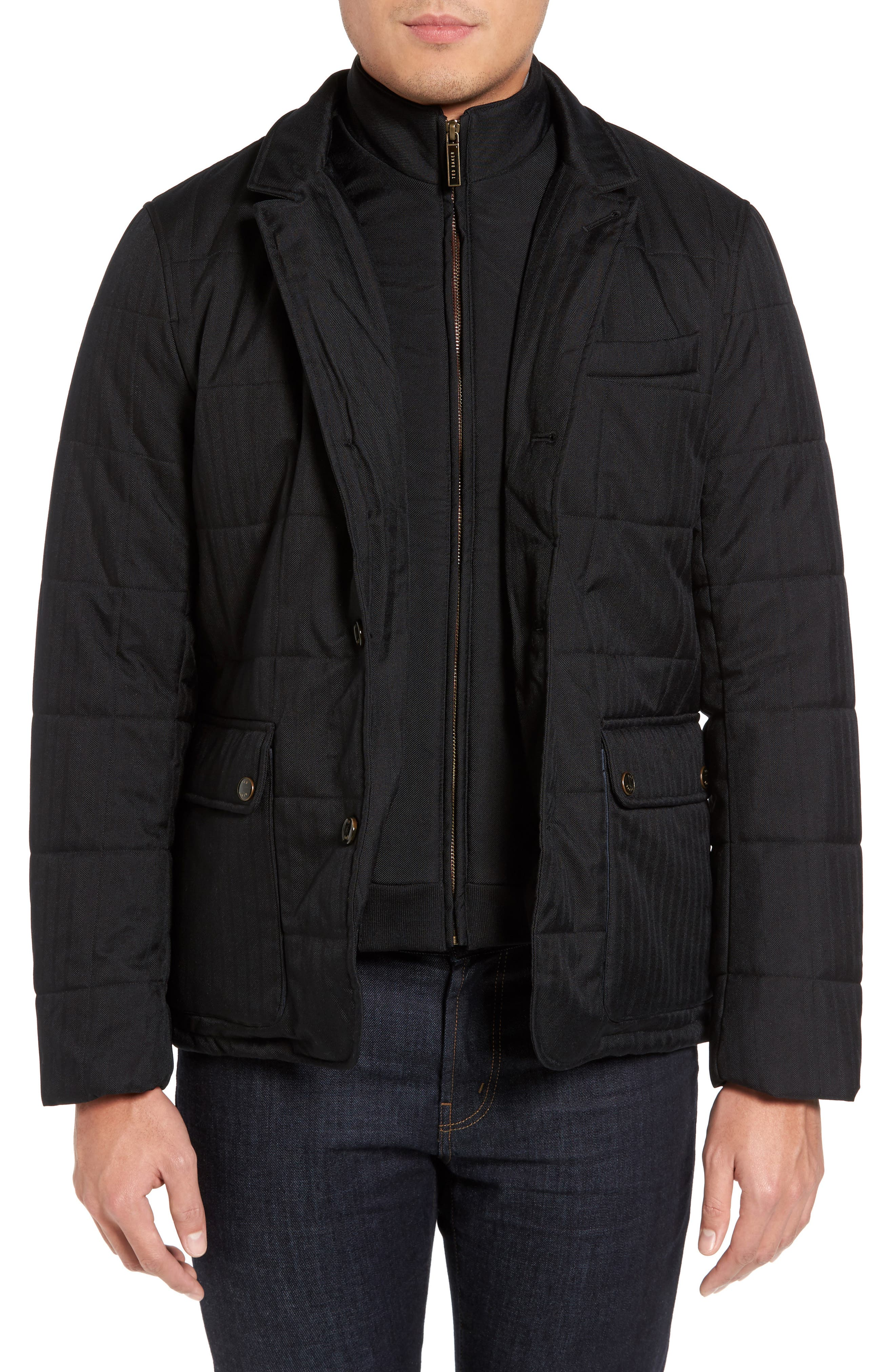 Jasper Trim Fit Quilted Jacket with Removable Bib,                             Main thumbnail 1, color,