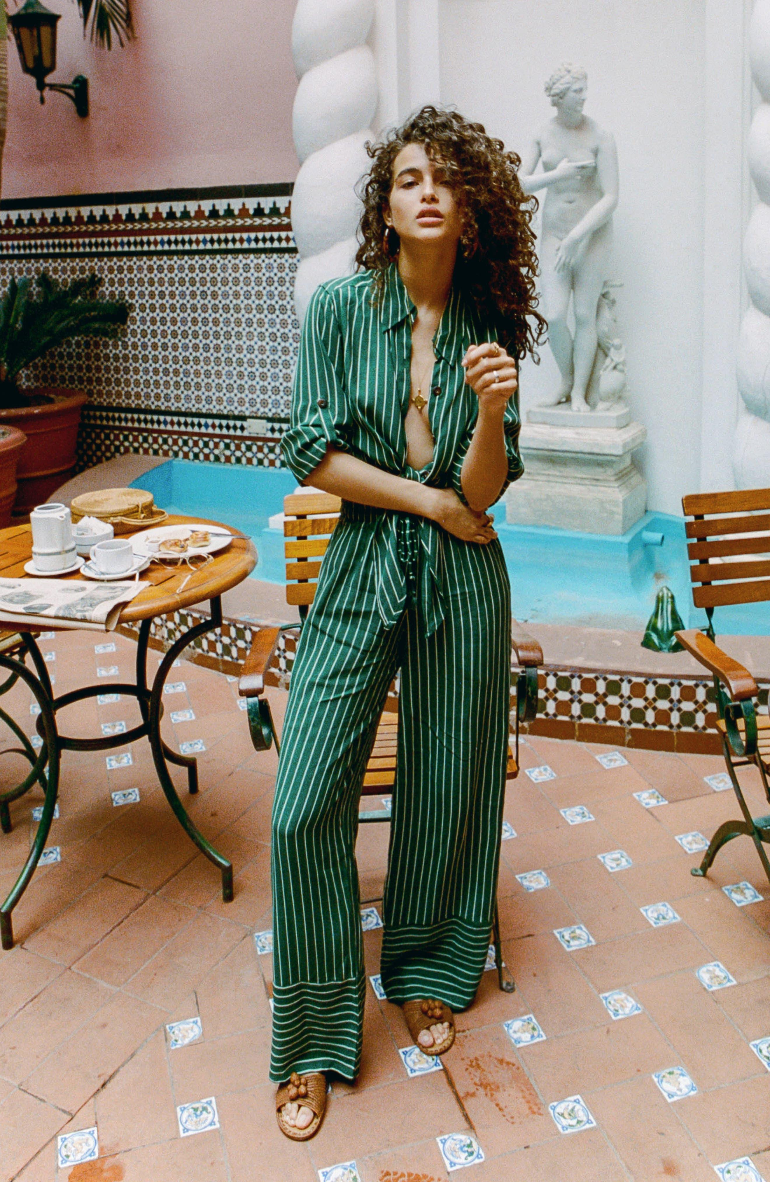 Havana High Waist Stripe Pants,                             Alternate thumbnail 6, color,                             PASEO STRIPE