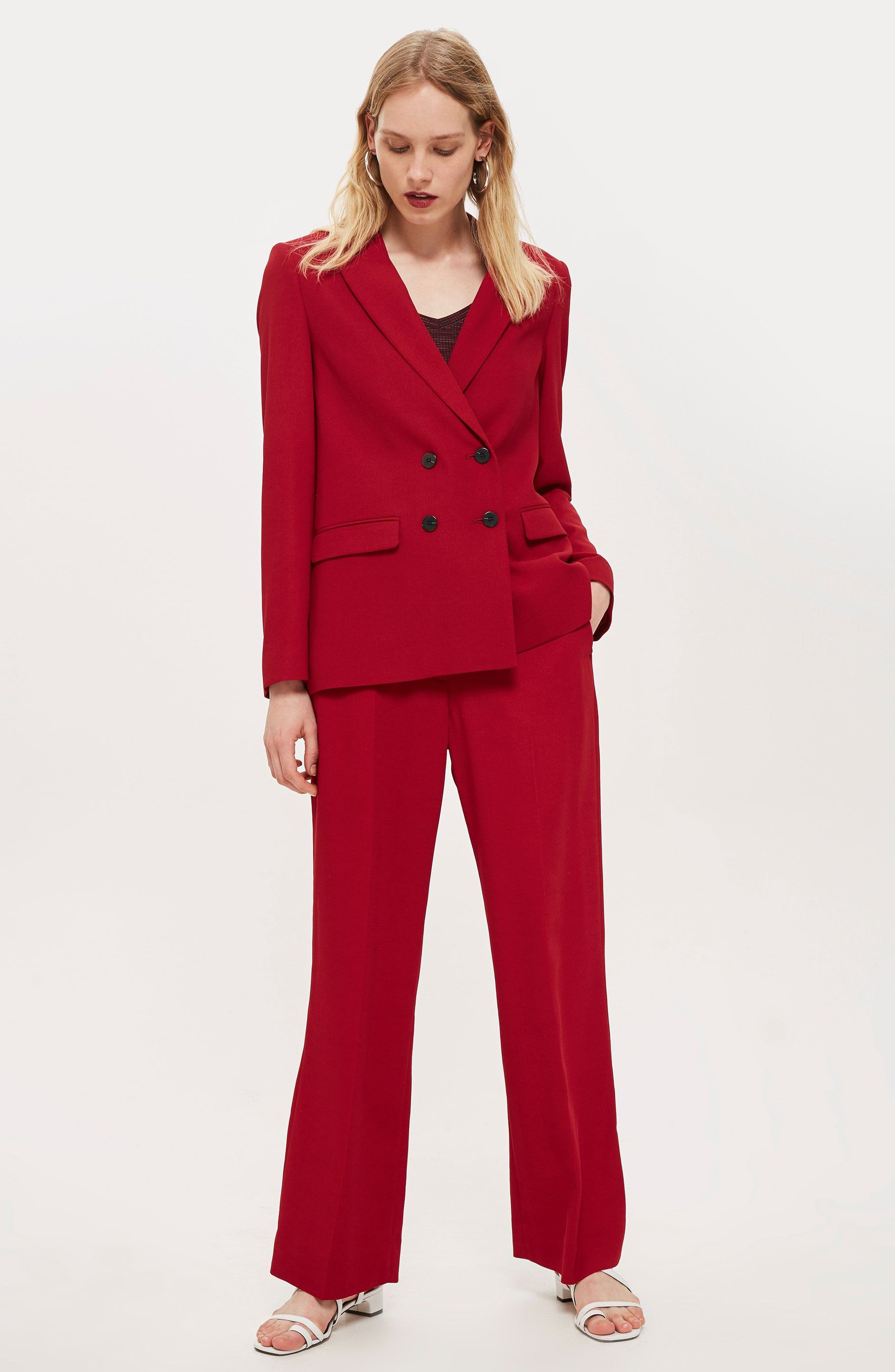 Slouch Suit Blazer,                             Alternate thumbnail 9, color,                             OXBLOOD