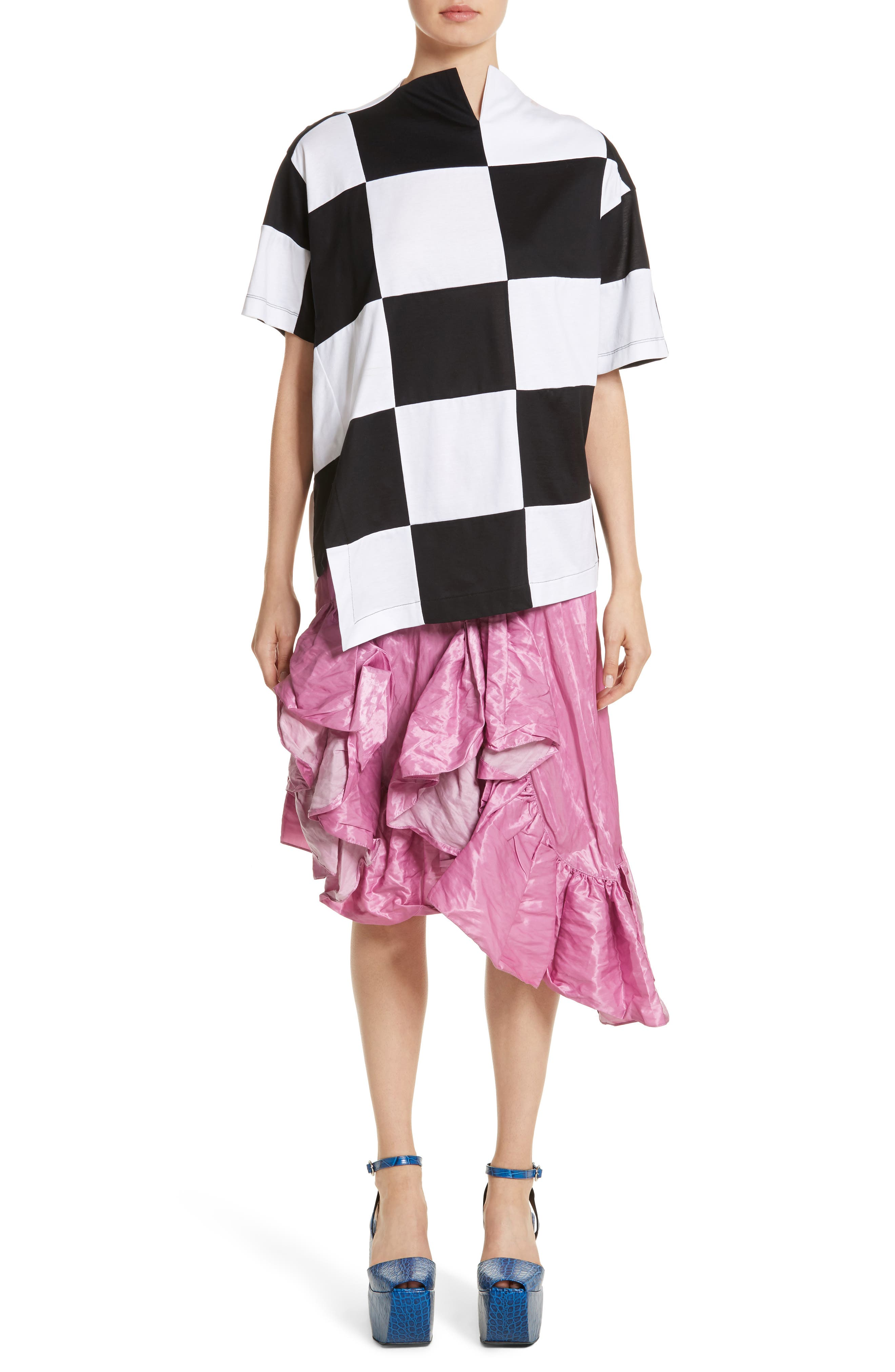 Marques'Almeida Asymmetrical Ruffle Taffeta Skirt,                             Alternate thumbnail 7, color,                             650