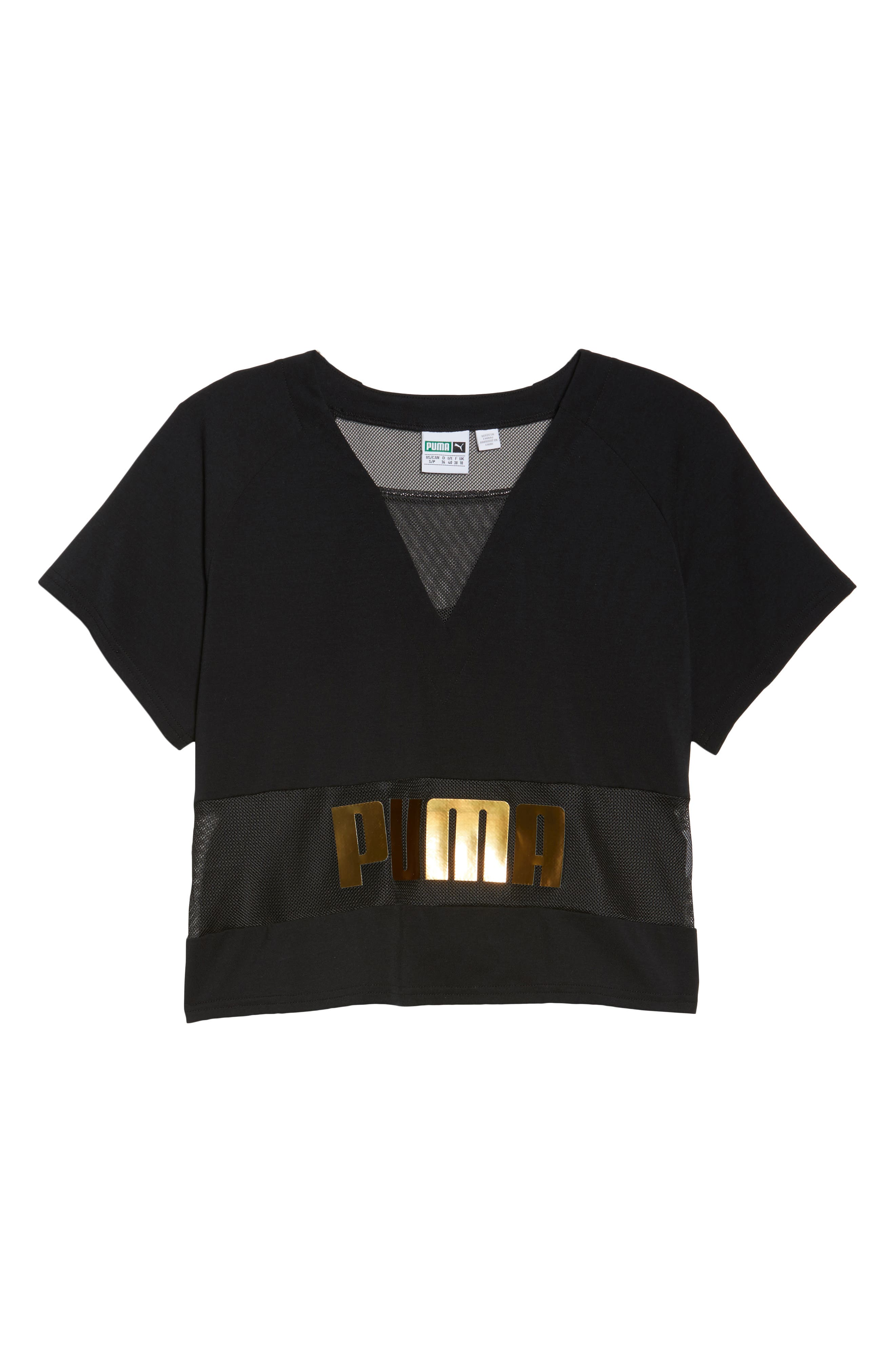 Mesh Layering Tee,                             Alternate thumbnail 7, color,                             001