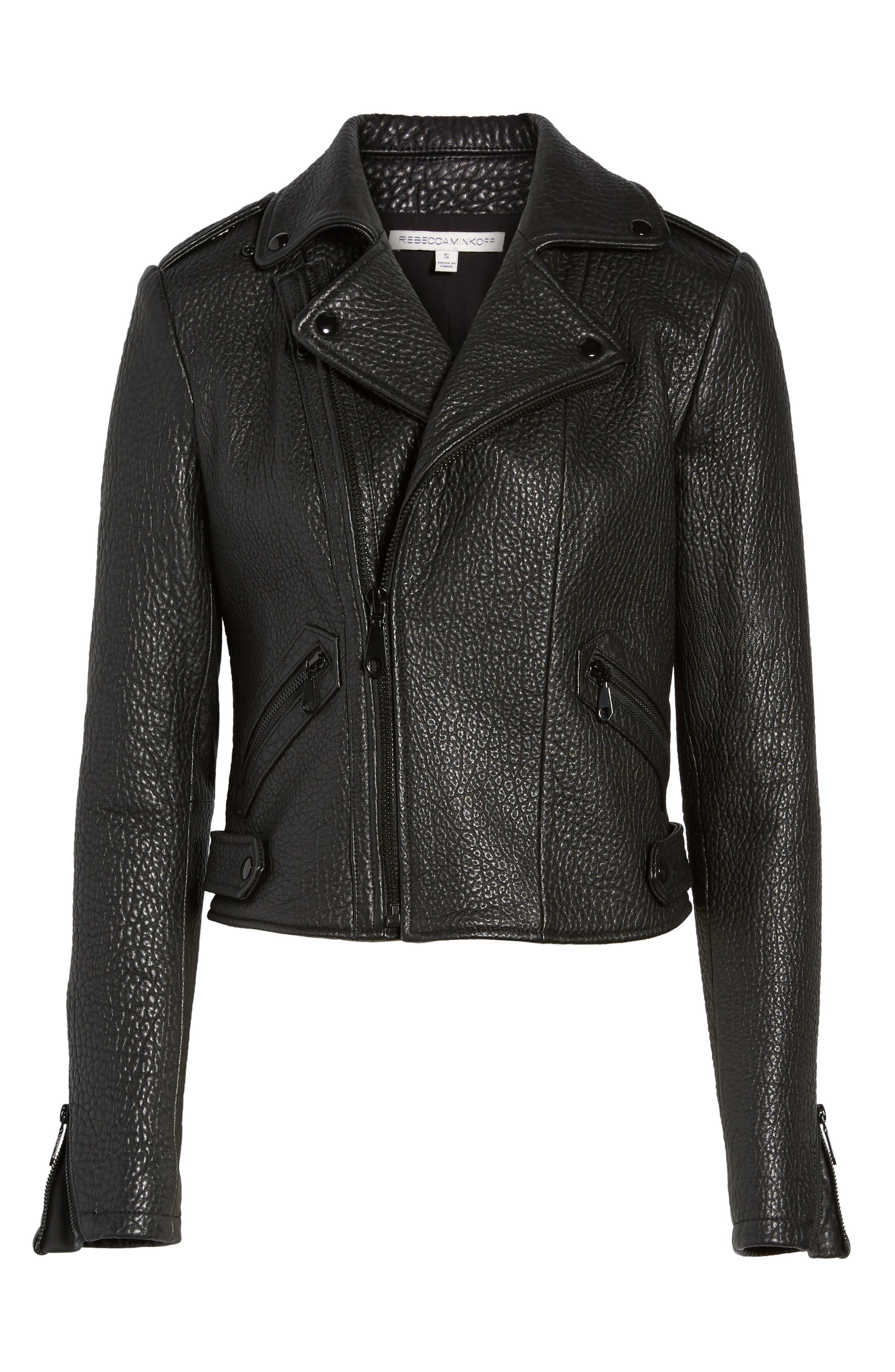 Wolf Leather Moto Jacket,                             Alternate thumbnail 5, color,                             001