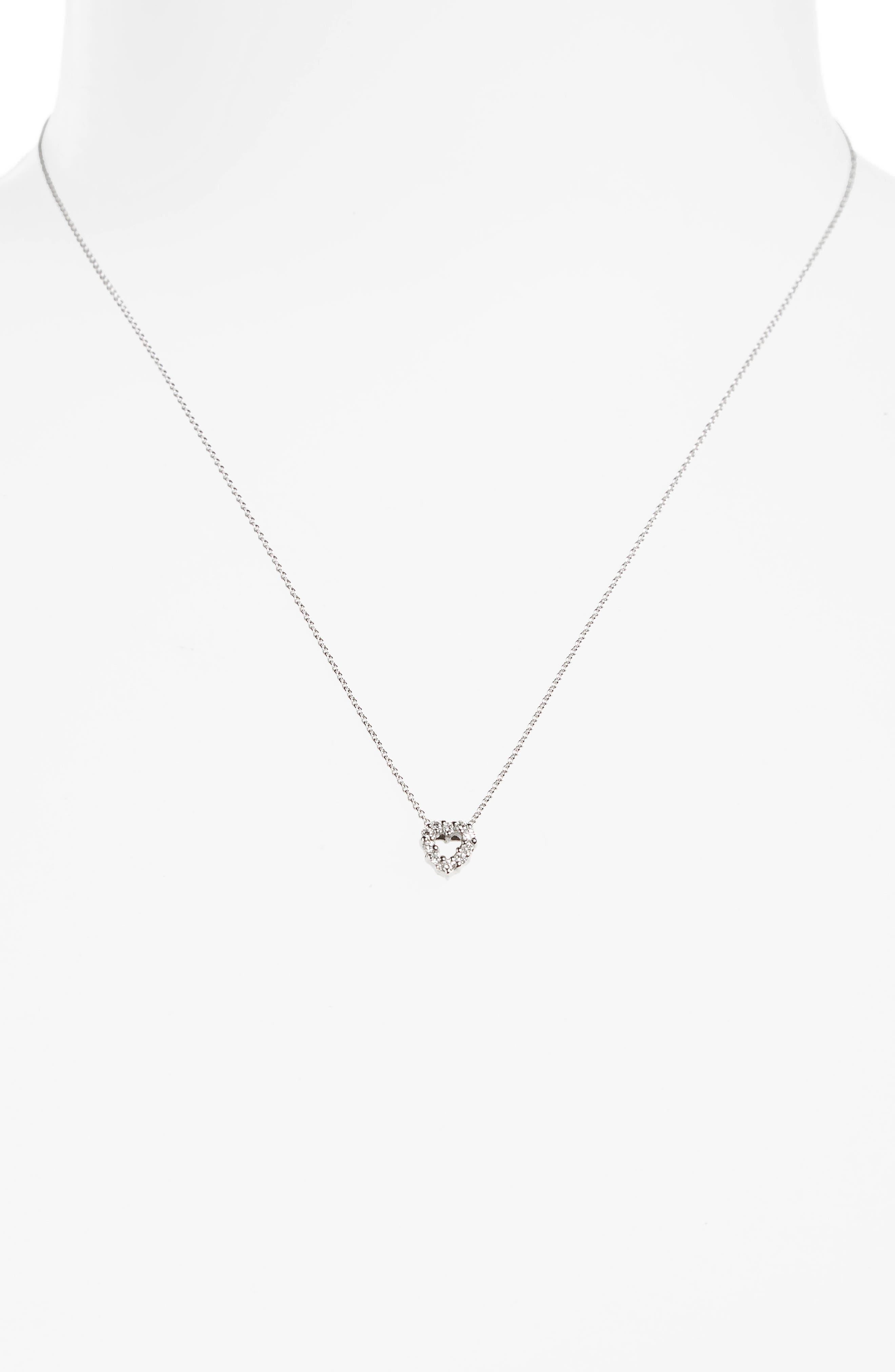 'Tiny Treasures' Diamond Heart Pendant Necklace,                             Alternate thumbnail 3, color,                             WHITE GOLD