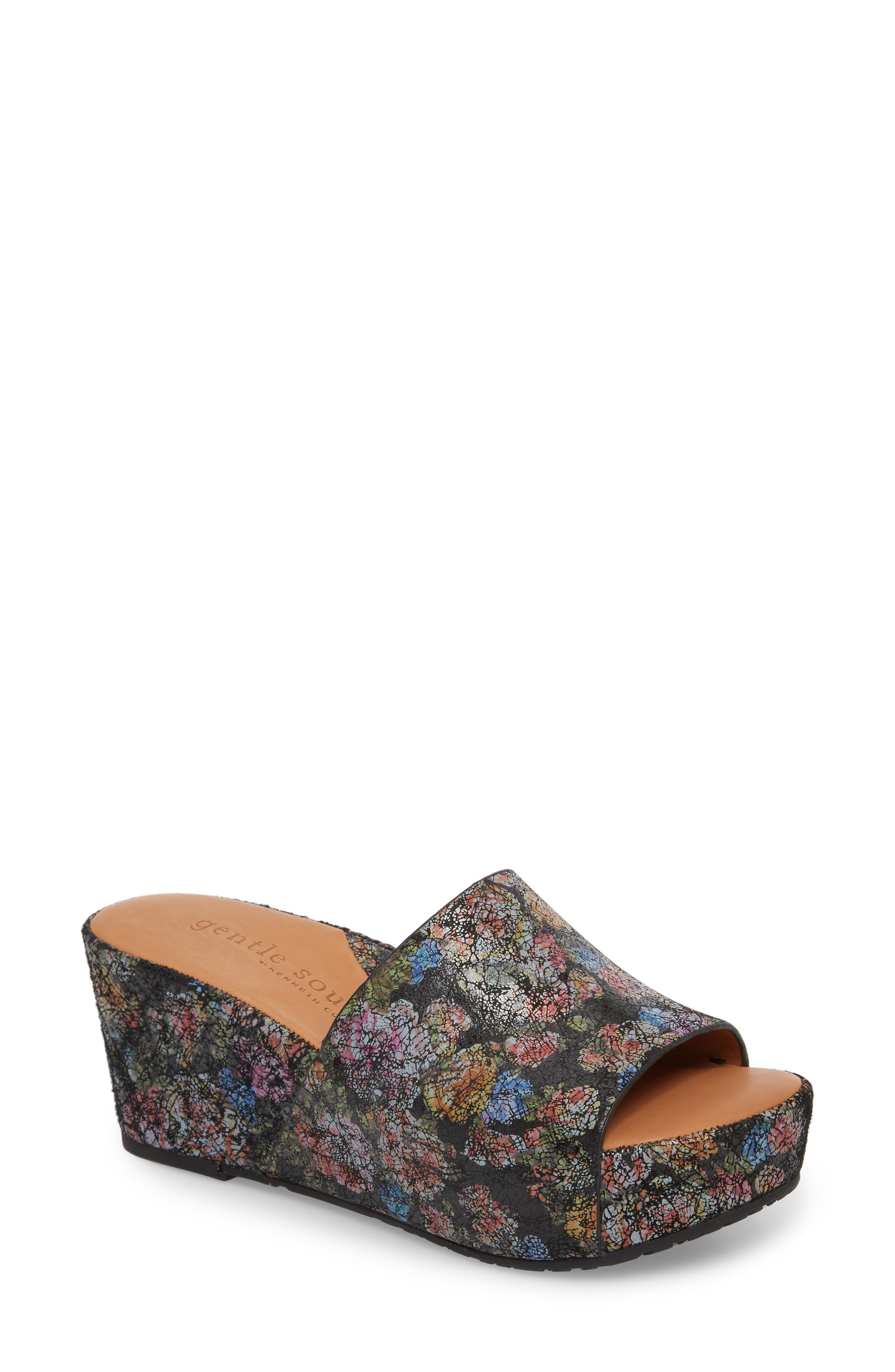 by Kenneth Cole Forella Slide Sandal,                             Main thumbnail 1, color,                             BLACK FLORAL LEATHER
