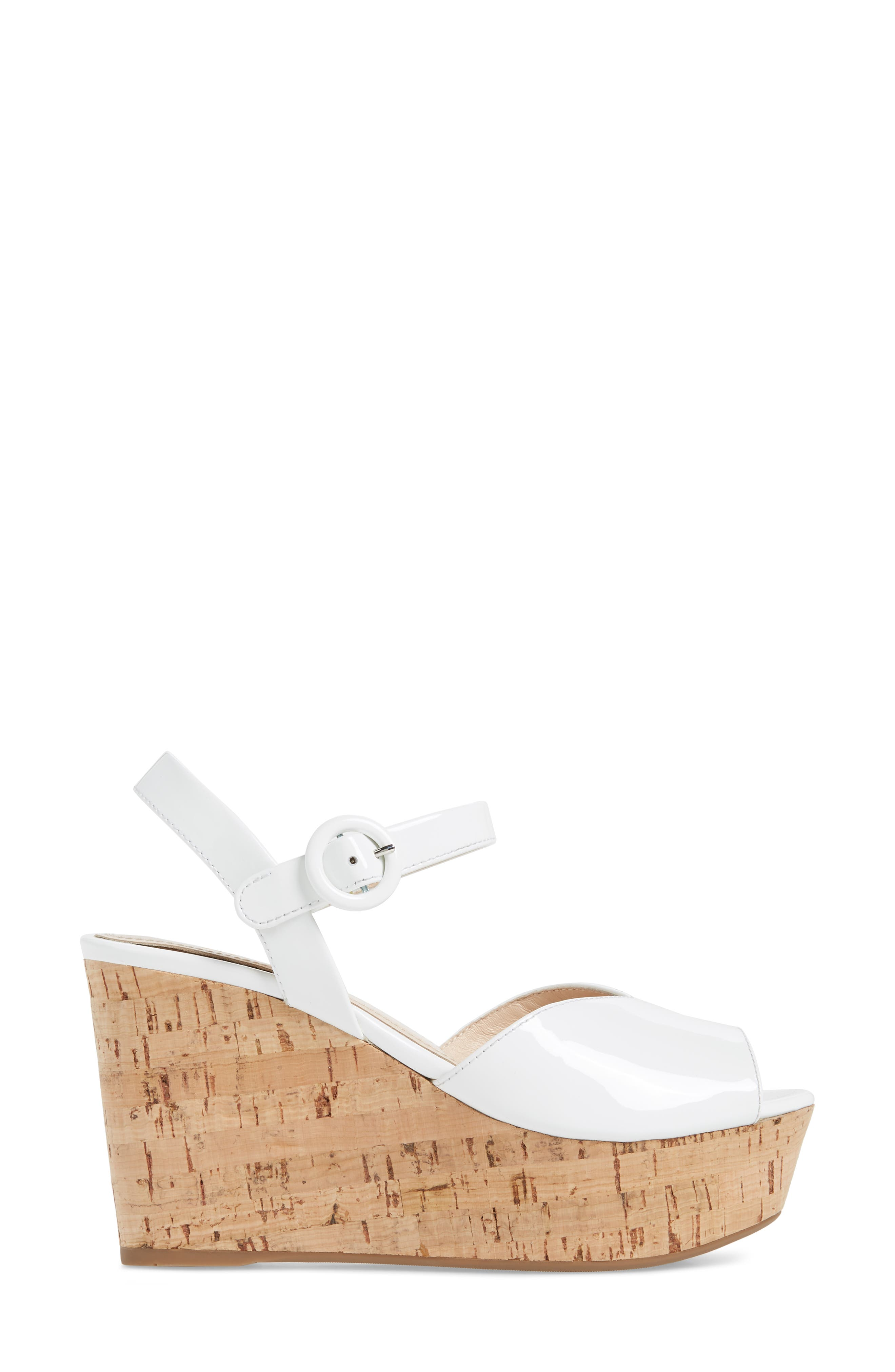 Wedge Platform Sandal,                             Alternate thumbnail 3, color,                             WHITE PATENT