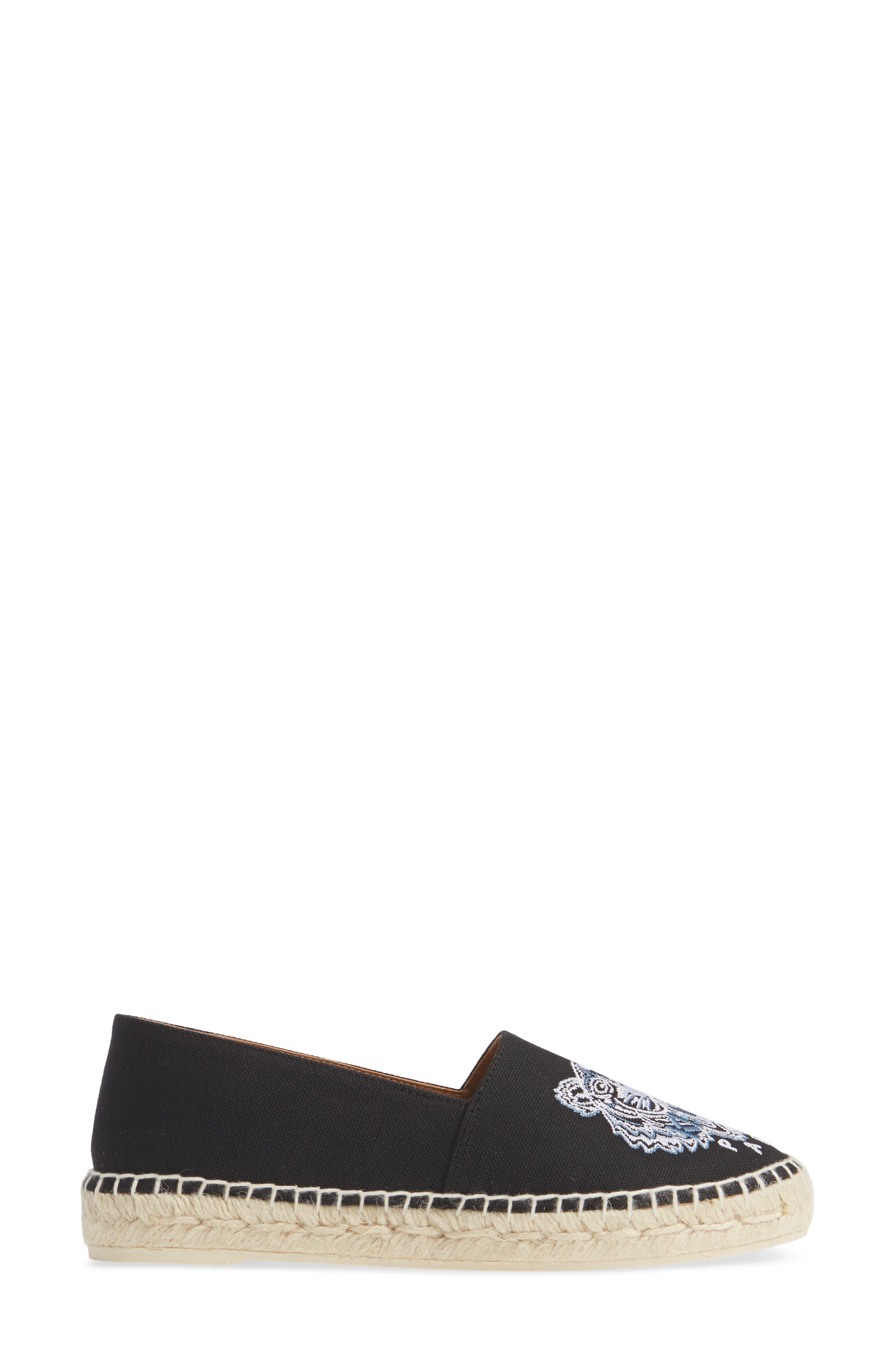 KENZO,                             White Tiger Embroidered Espadrille,                             Alternate thumbnail 3, color,                             BLACK