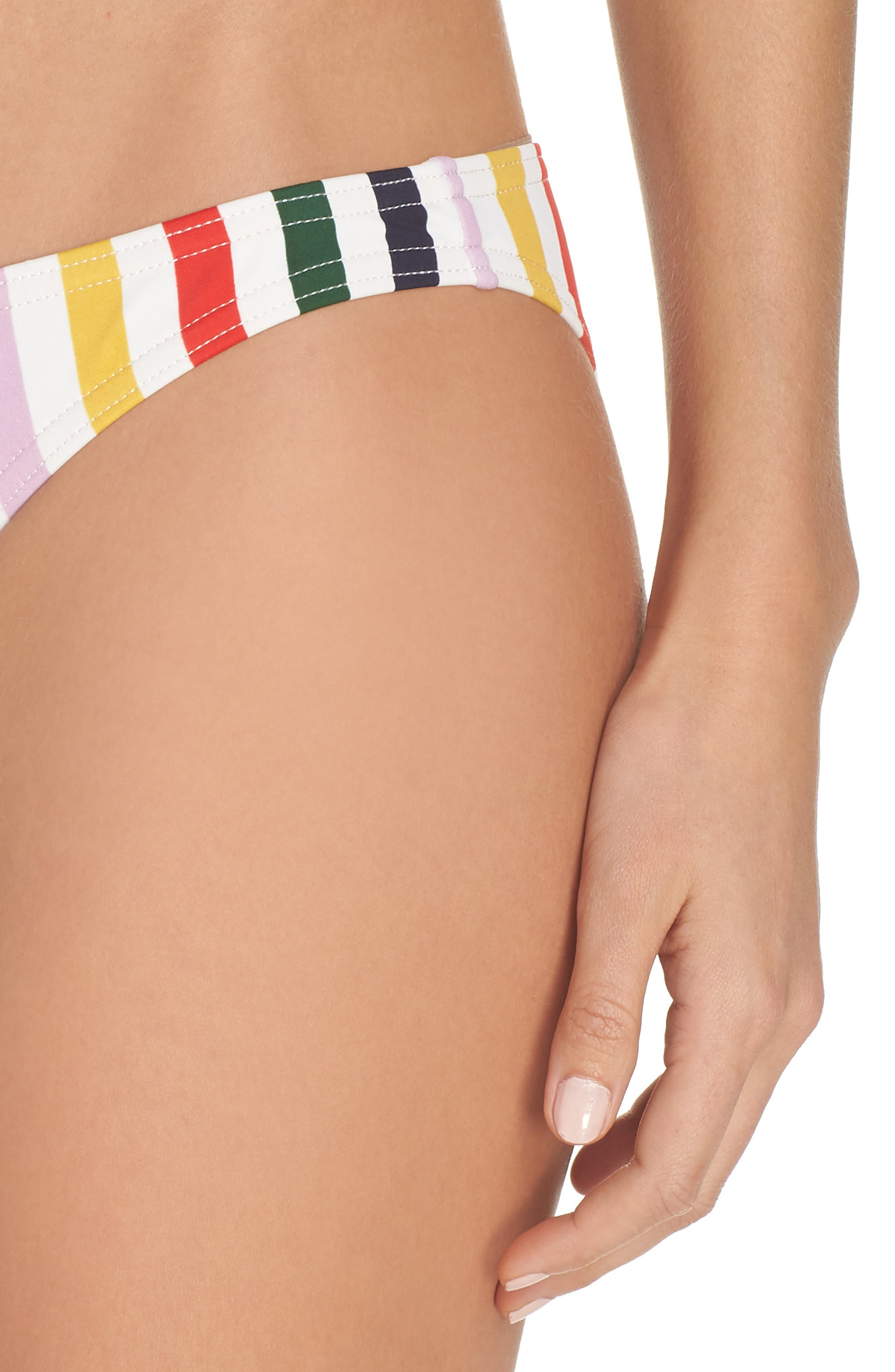 Holiday Stripe Lowrider Bikini Bottoms,                             Alternate thumbnail 4, color,                             IVORY RICH GOLD MULTI