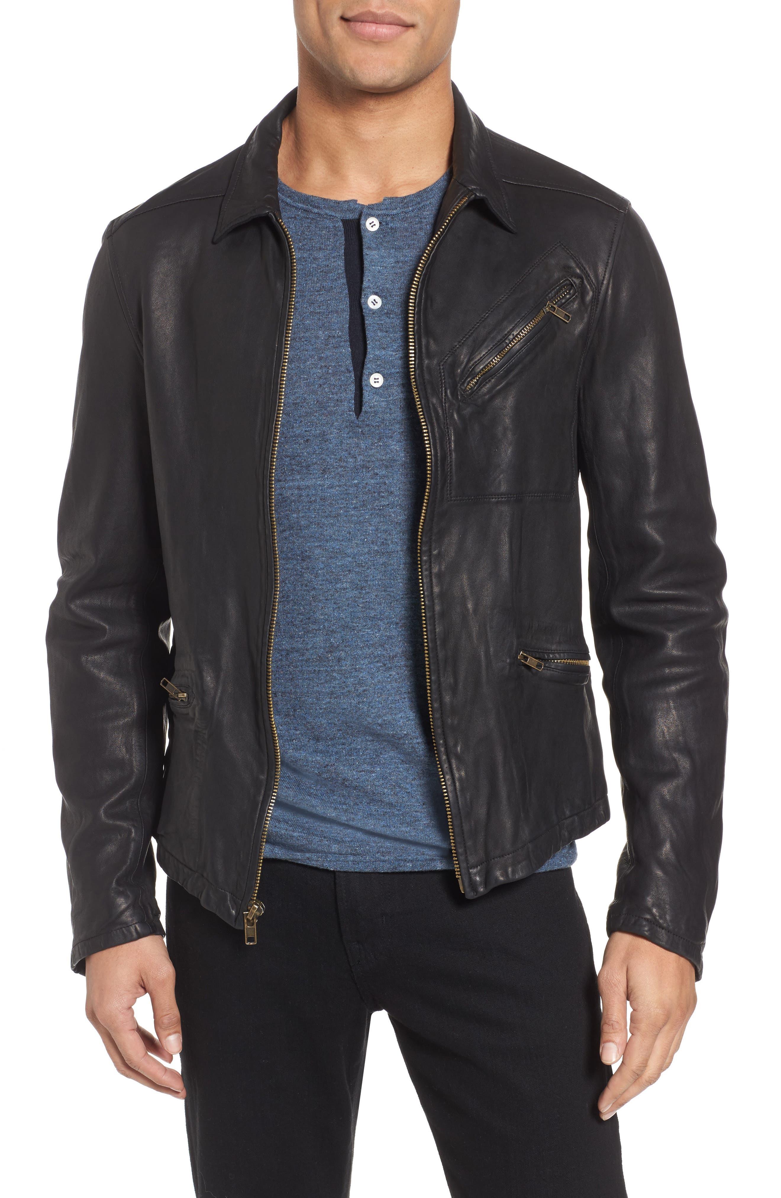 Blake Leather Jacket,                         Main,                         color, BLACK