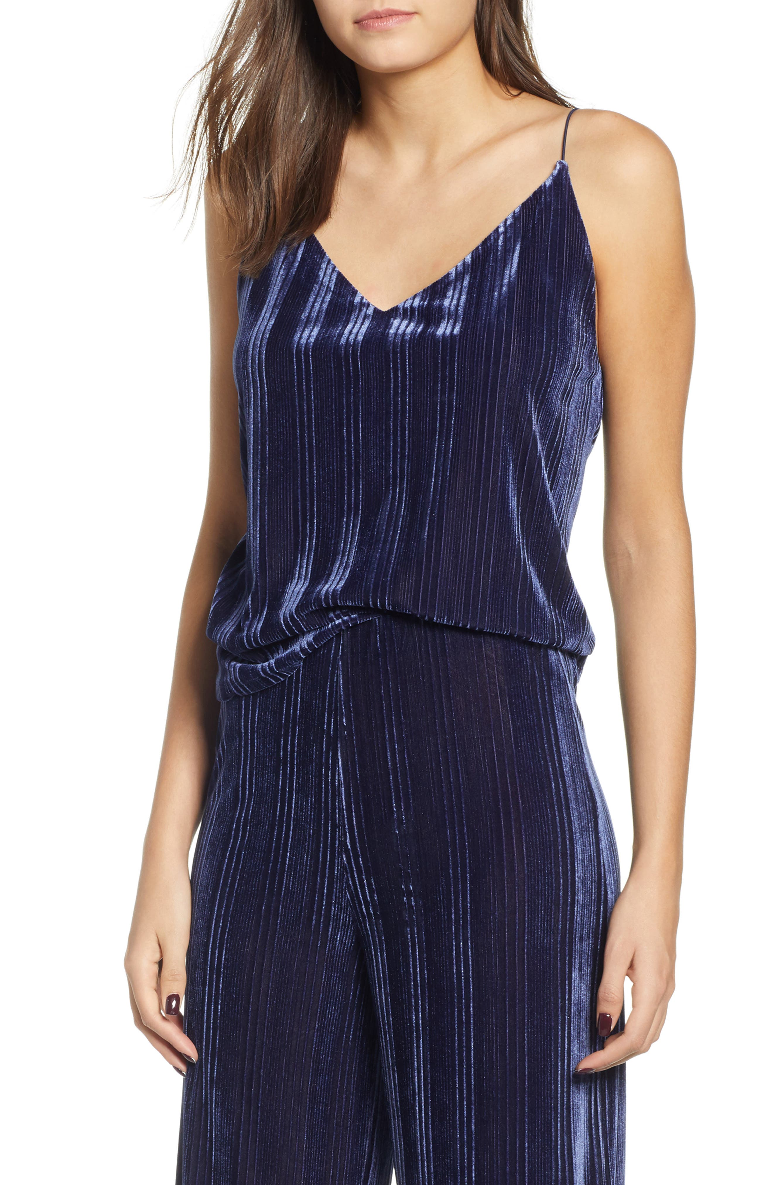 Velour Cami,                             Main thumbnail 1, color,                             NAVY MARITIME