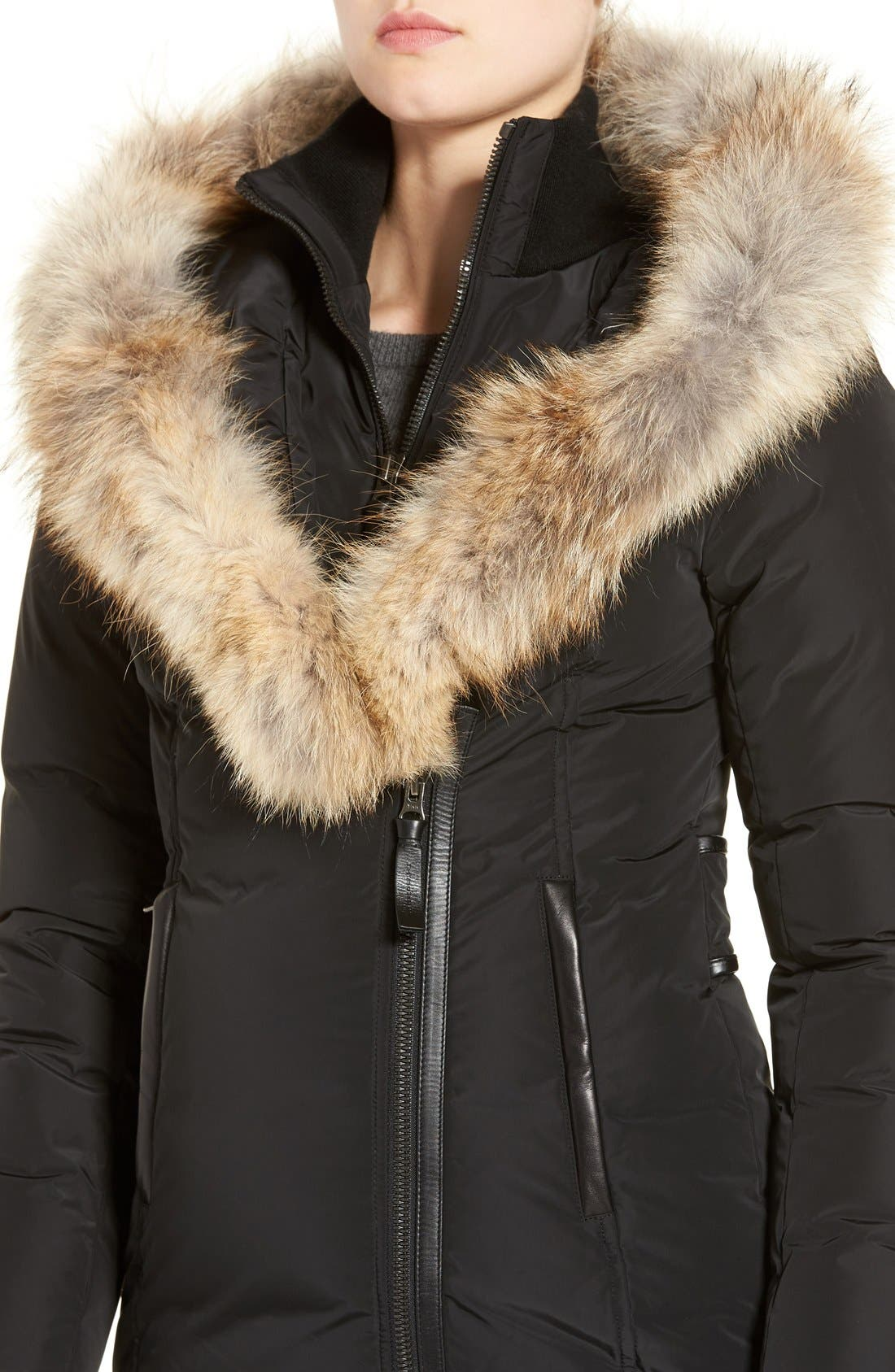Down Puffer with Coyote Fur Trim,                             Alternate thumbnail 2, color,                             001