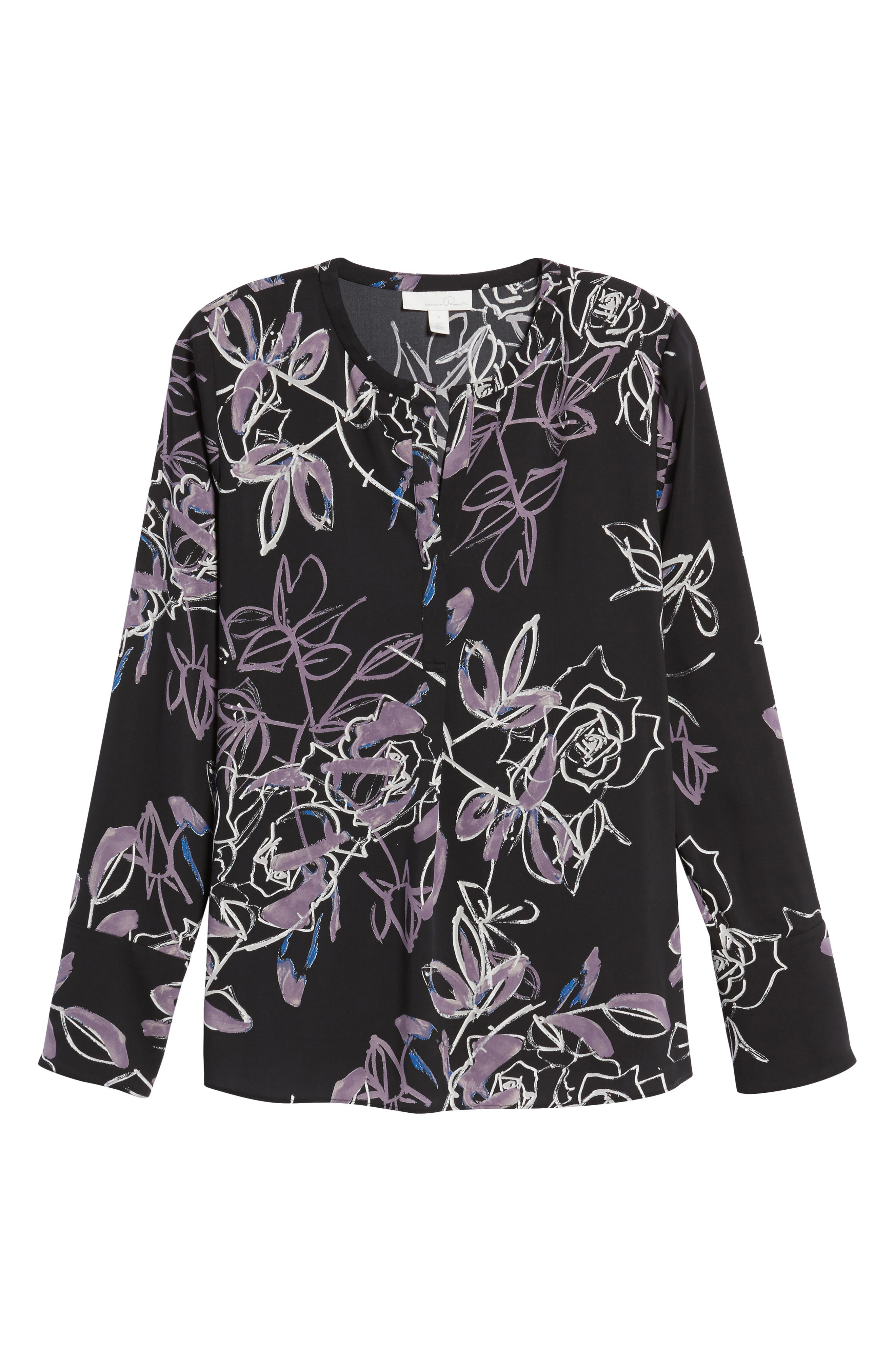 Long Sleeve Print Blouse,                             Alternate thumbnail 6, color,                             001