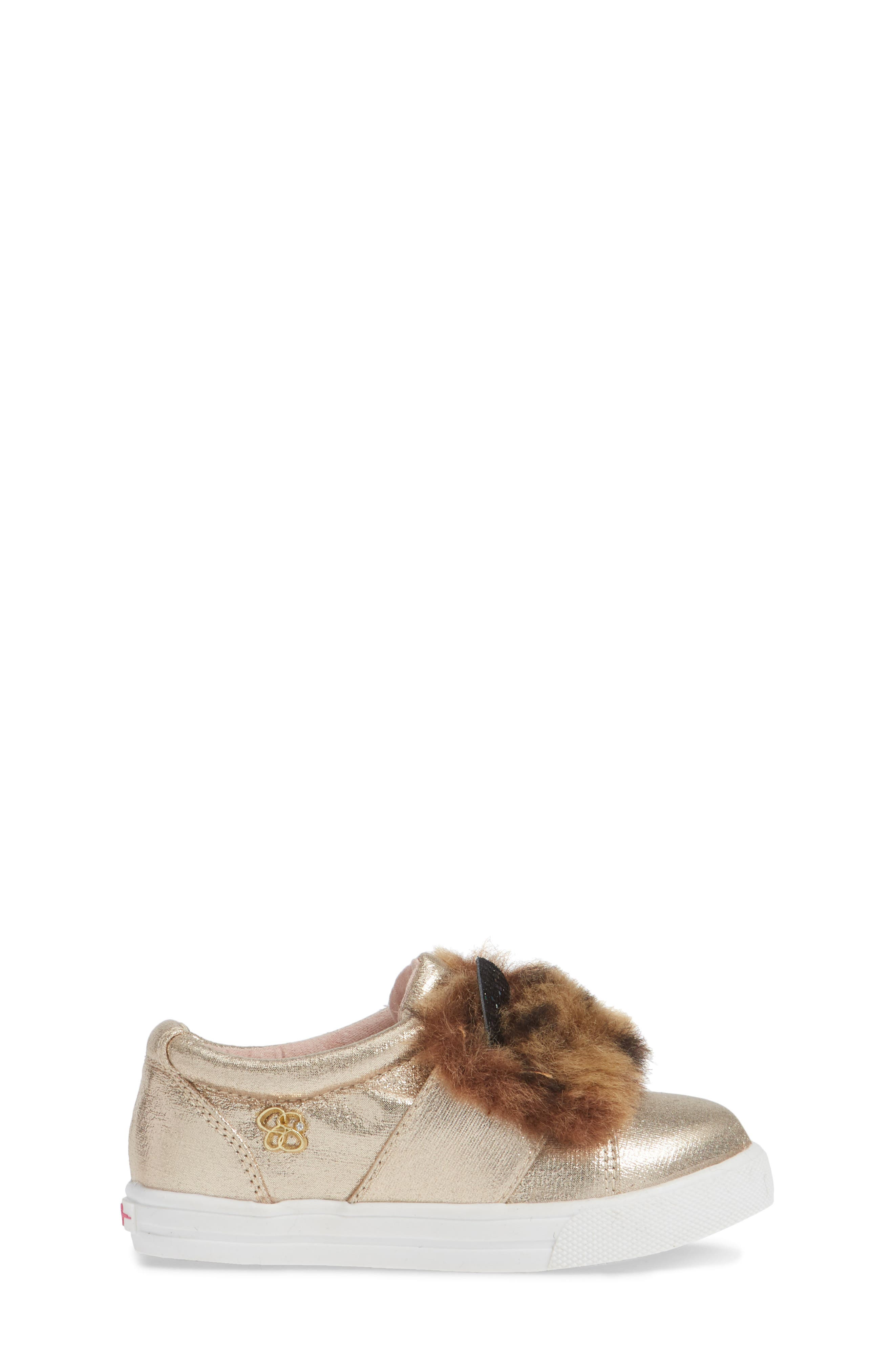 Faux Fur Slip-On Metallic Sneaker,                             Alternate thumbnail 3, color,                             GOLDEN METALLIC
