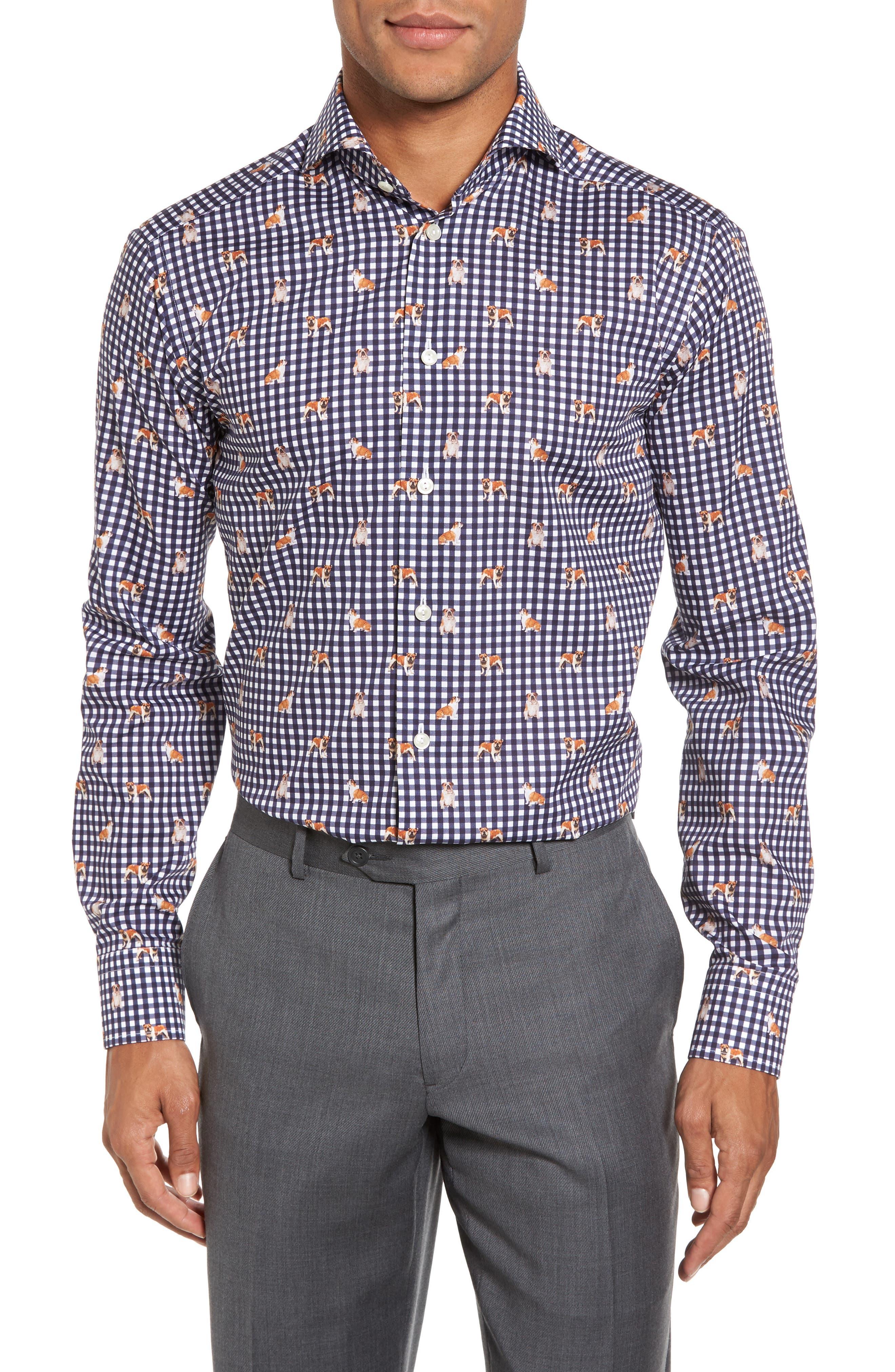 Slim Fit Print Dress Shirt,                             Main thumbnail 1, color,                             400
