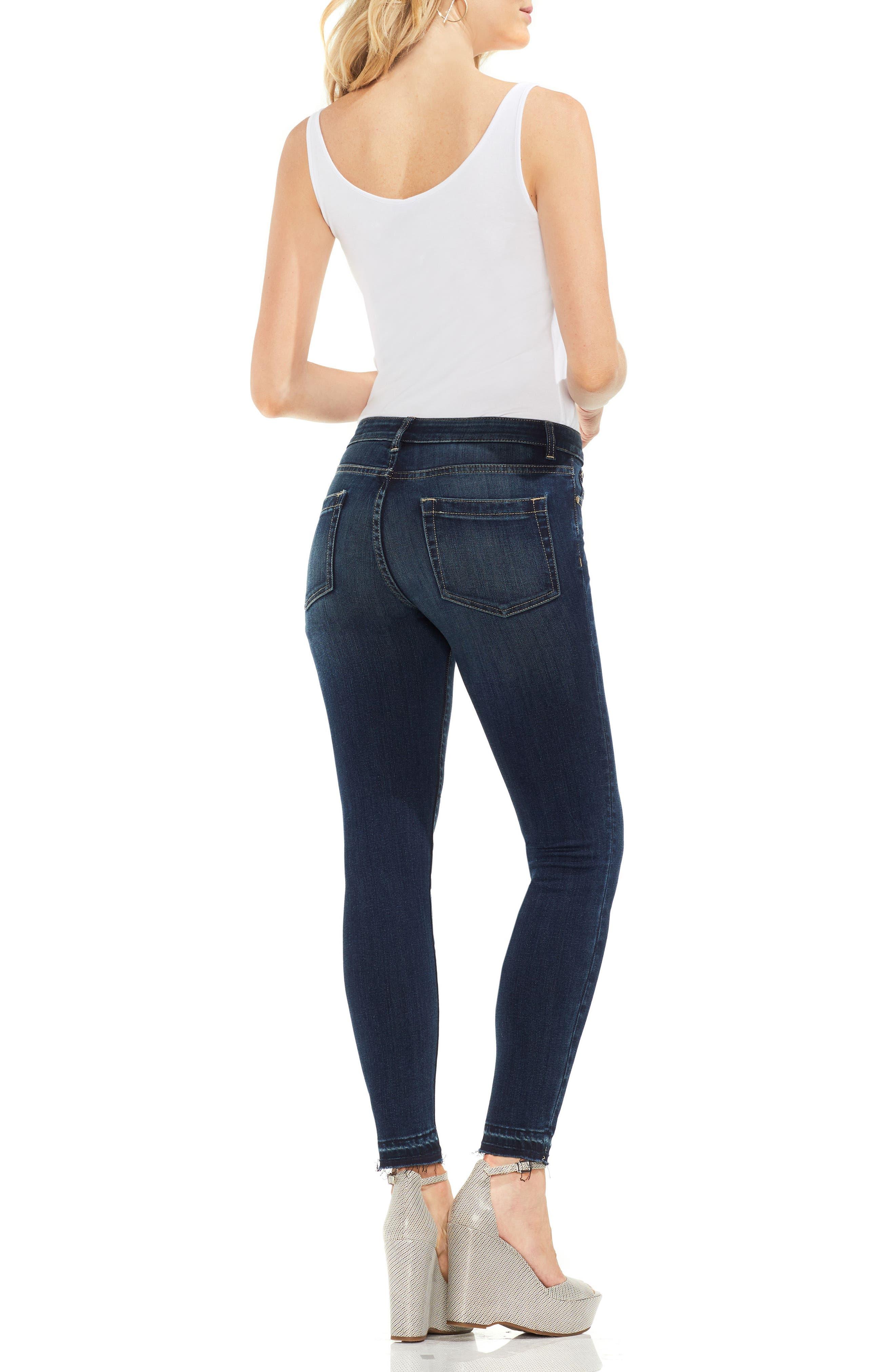 Release Hem Skinny Jeans,                             Alternate thumbnail 6, color,                             DARK AUTHENTIC