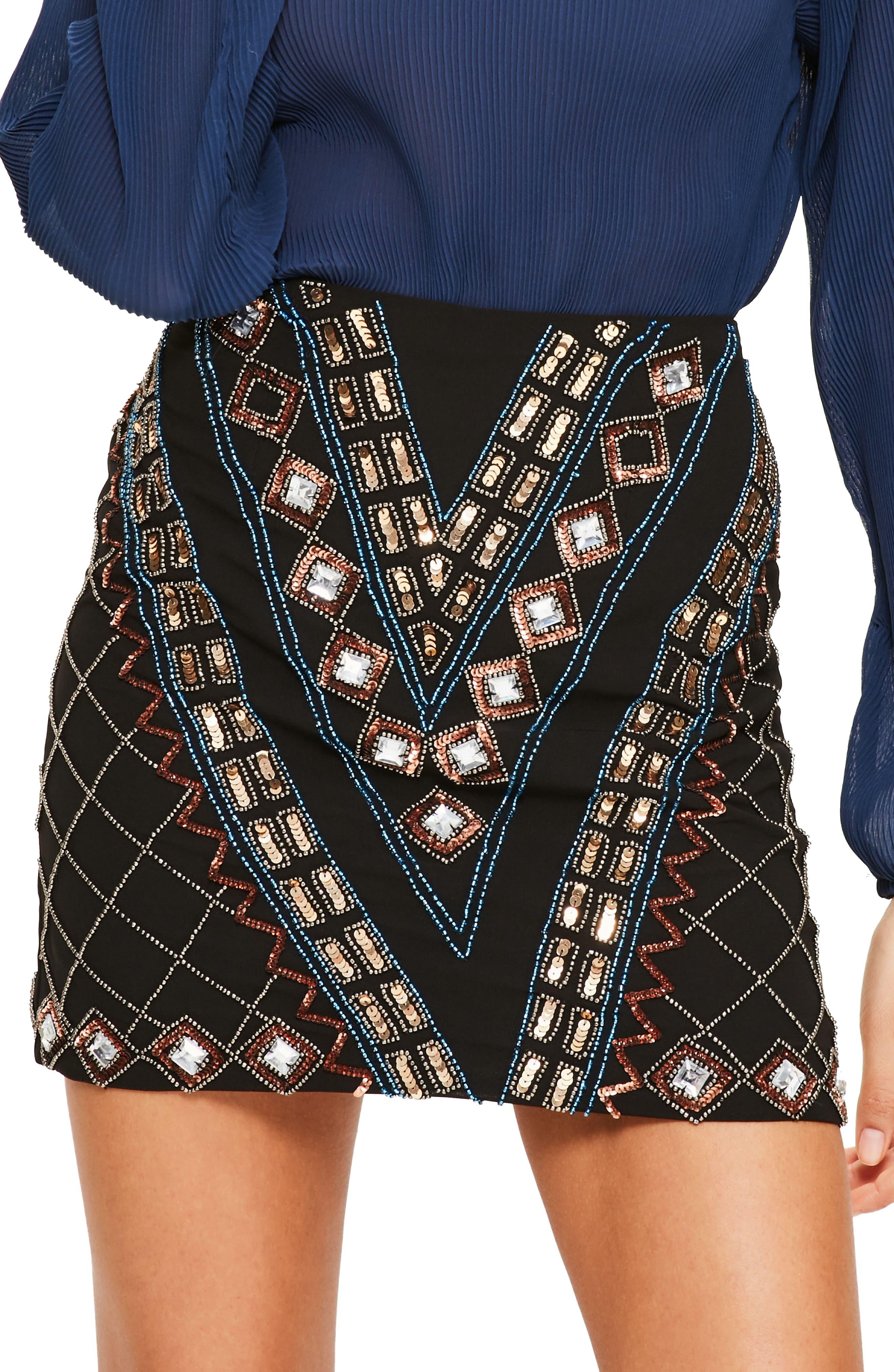 Embellished Miniskirt,                         Main,                         color, 001