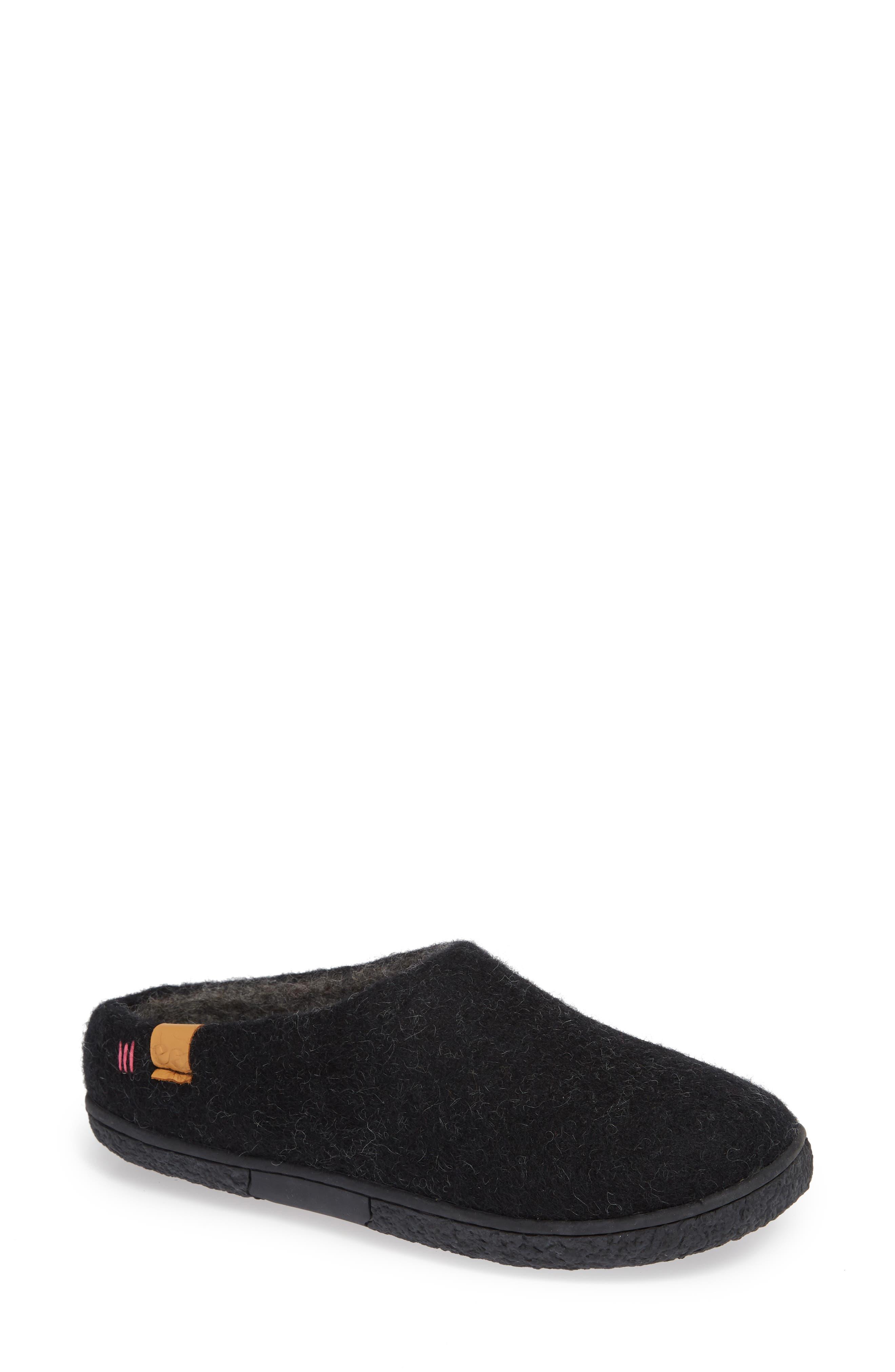 Tibet Wool Slipper,                         Main,                         color, BLACK WOOL