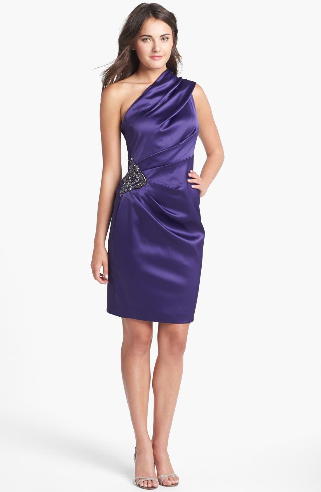 Beaded One-Shoulder Satin Dress,                             Alternate thumbnail 12, color,