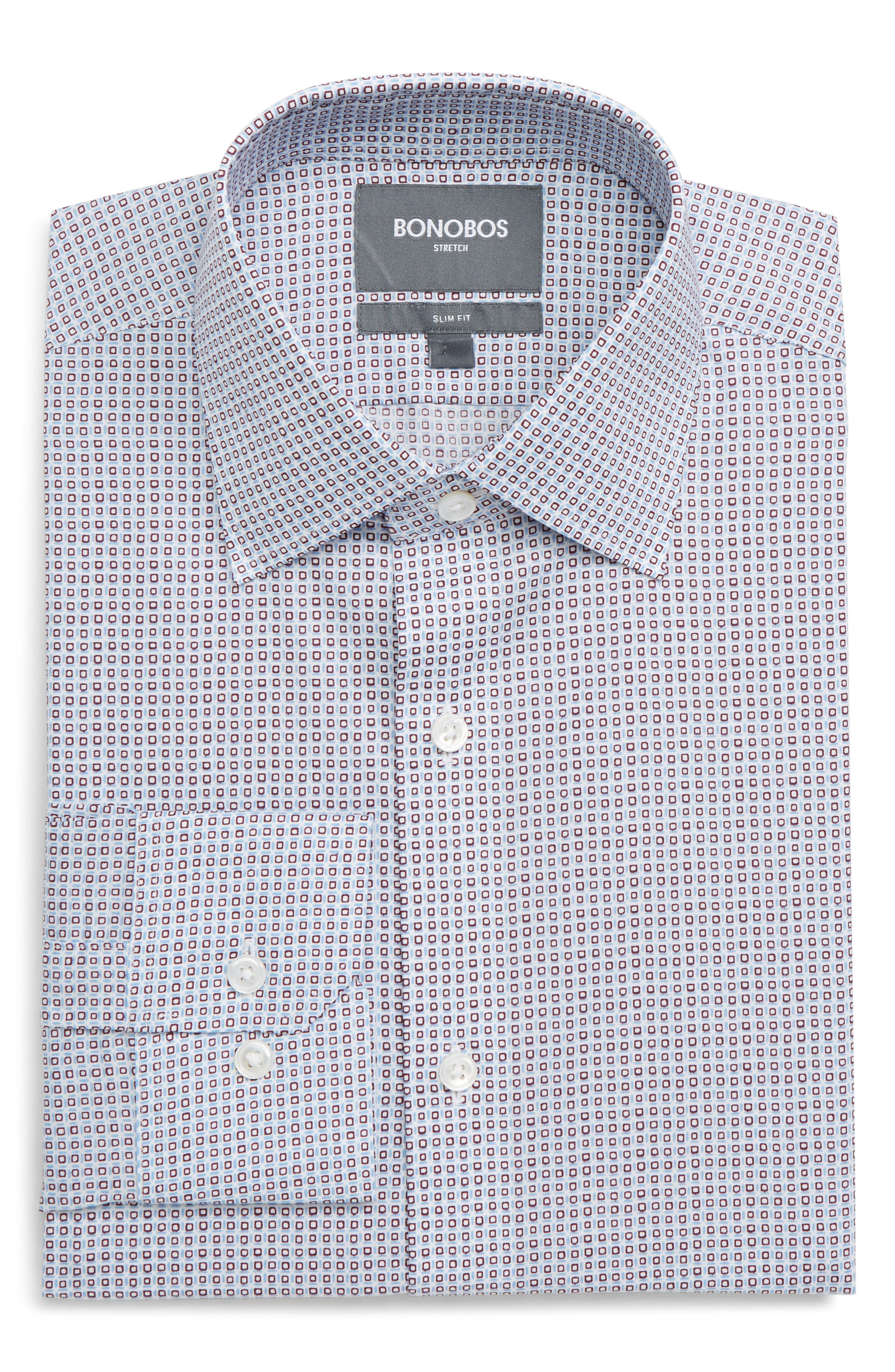 Jetsetter Slim Fit Stretch Geometric Dress Shirt,                         Main,                         color, ANCHO CHILE