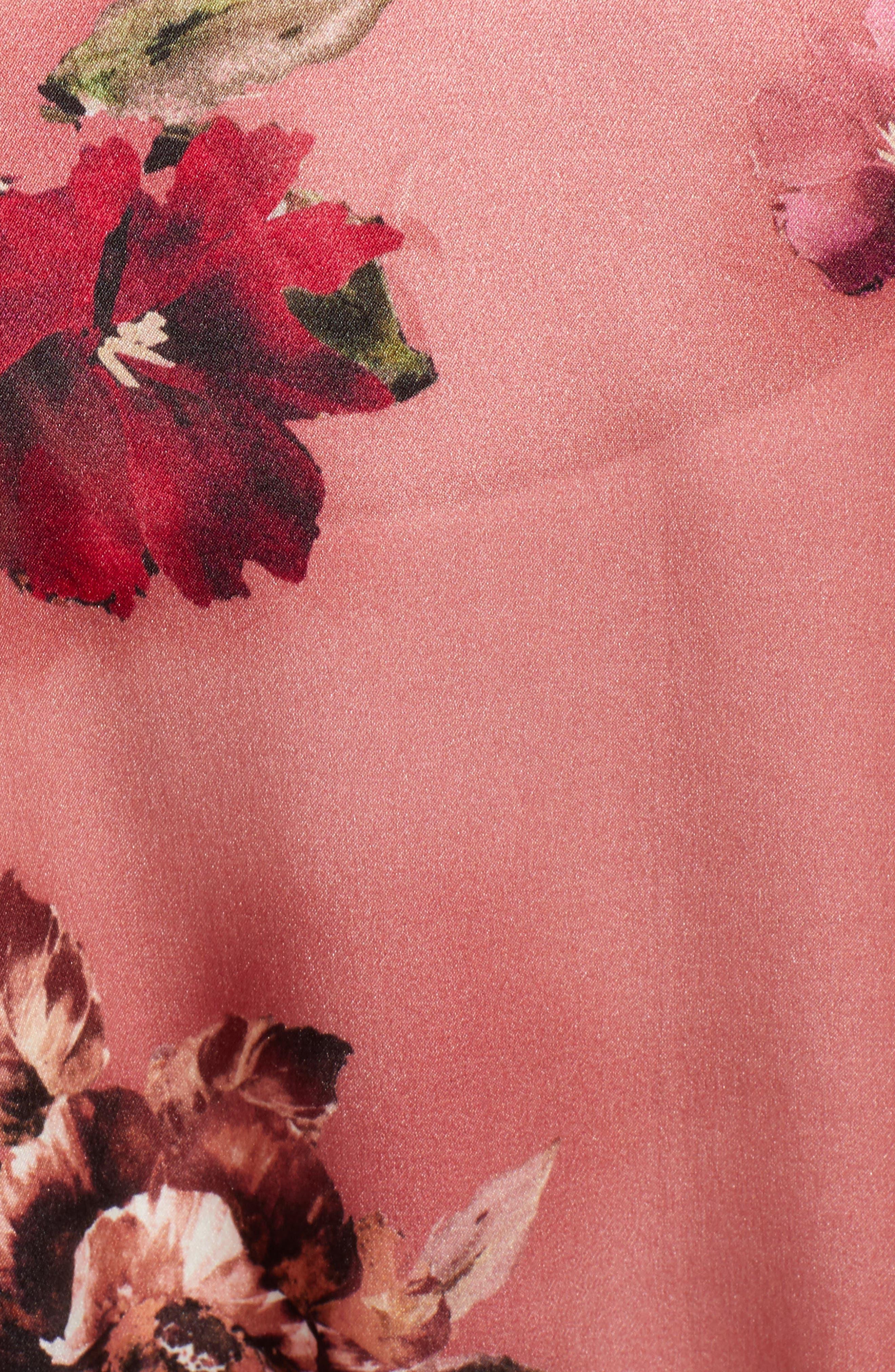 Print Long Silk Kimono,                             Alternate thumbnail 5, color,                             PINK AUTUMN BOUQUET