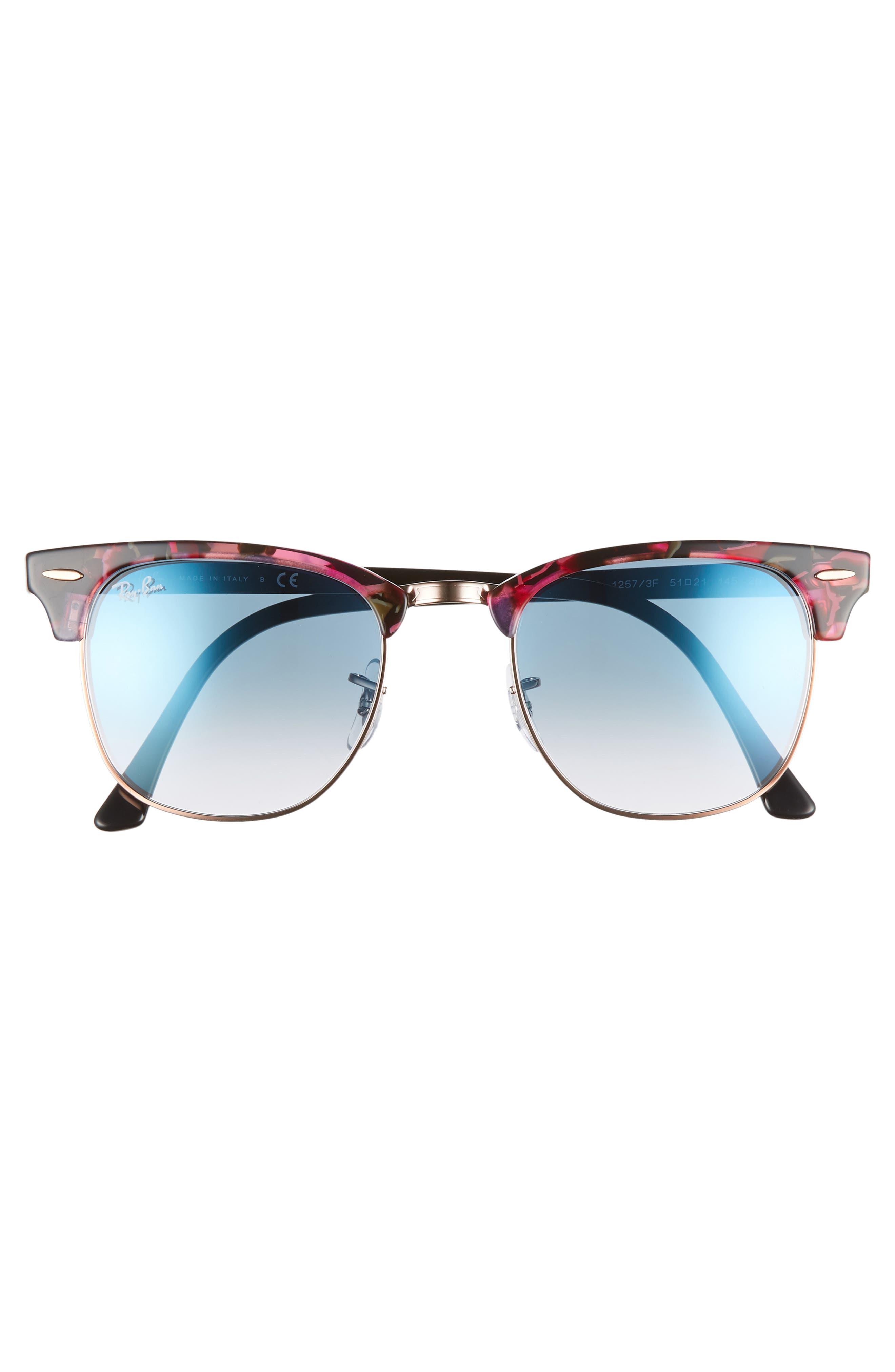 Clubmaster 51mm Gradient Sunglasses,                             Alternate thumbnail 3, color,                             GREY/ VIOLET GRADIENT