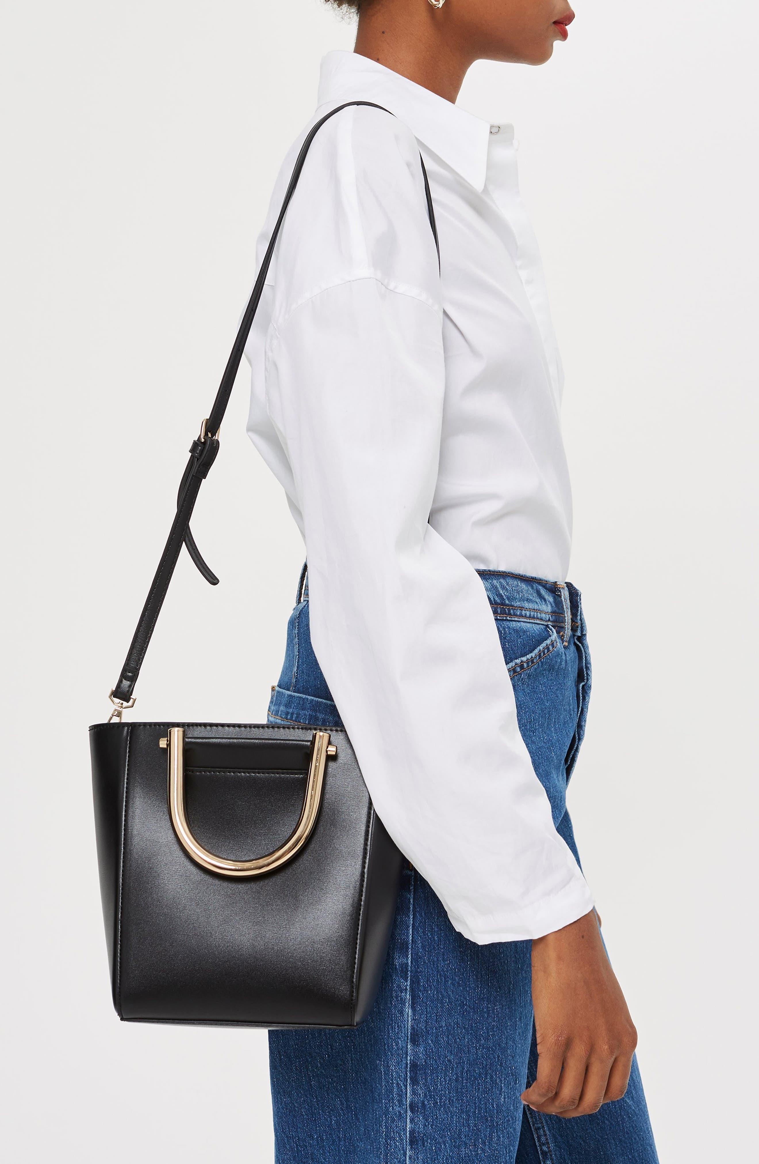 TOPSHOP,                             Lacey Metal Top Handle Shoulder Bag,                             Alternate thumbnail 2, color,                             001