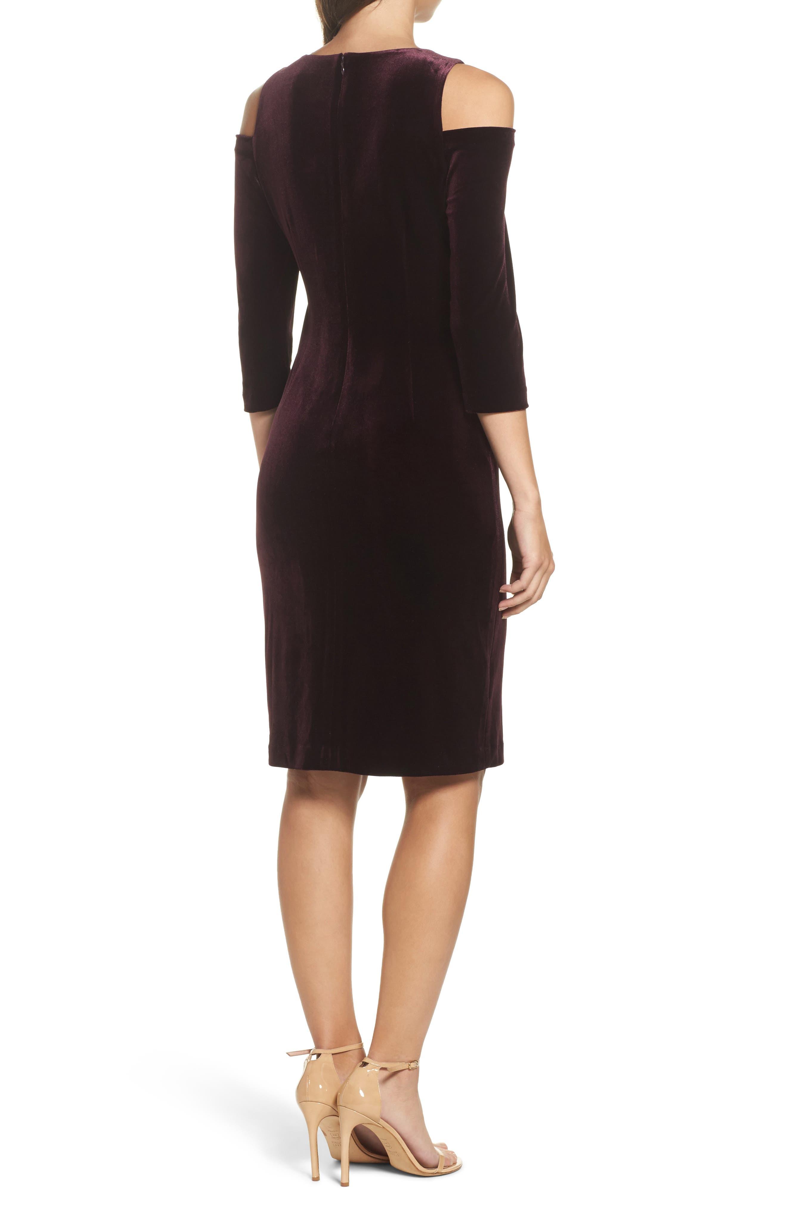 Cold Shoulder Velvet Sheath Dress,                             Alternate thumbnail 4, color,
