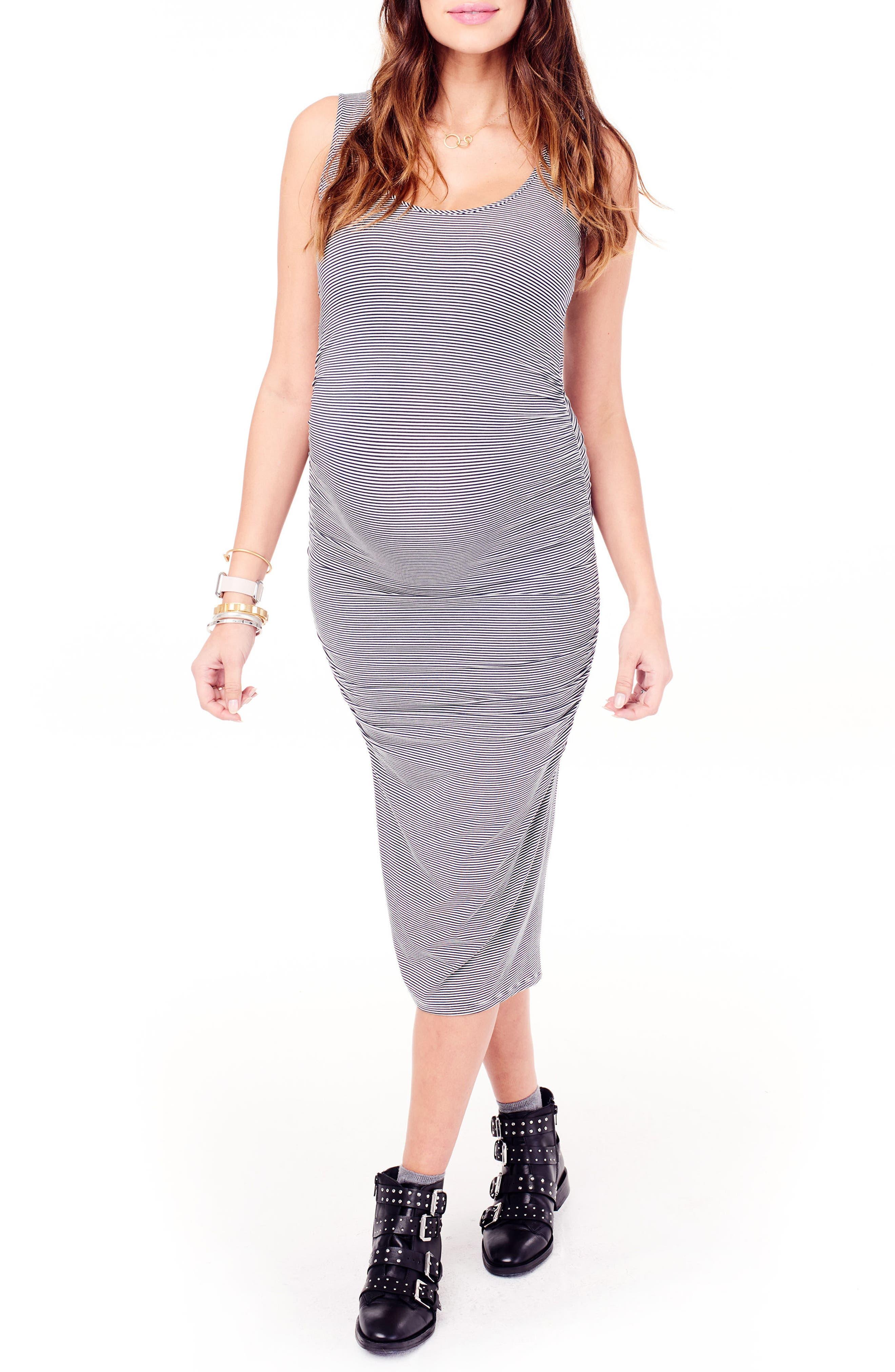 Shirred Midi Maternity Tank Dress,                         Main,                         color, TRUE NAVY/ IVORY MICROSTRIPE