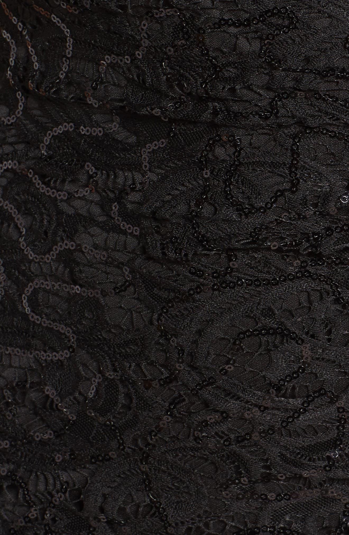 Sequin Lace One-Shoulder Gown,                             Alternate thumbnail 5, color,                             001