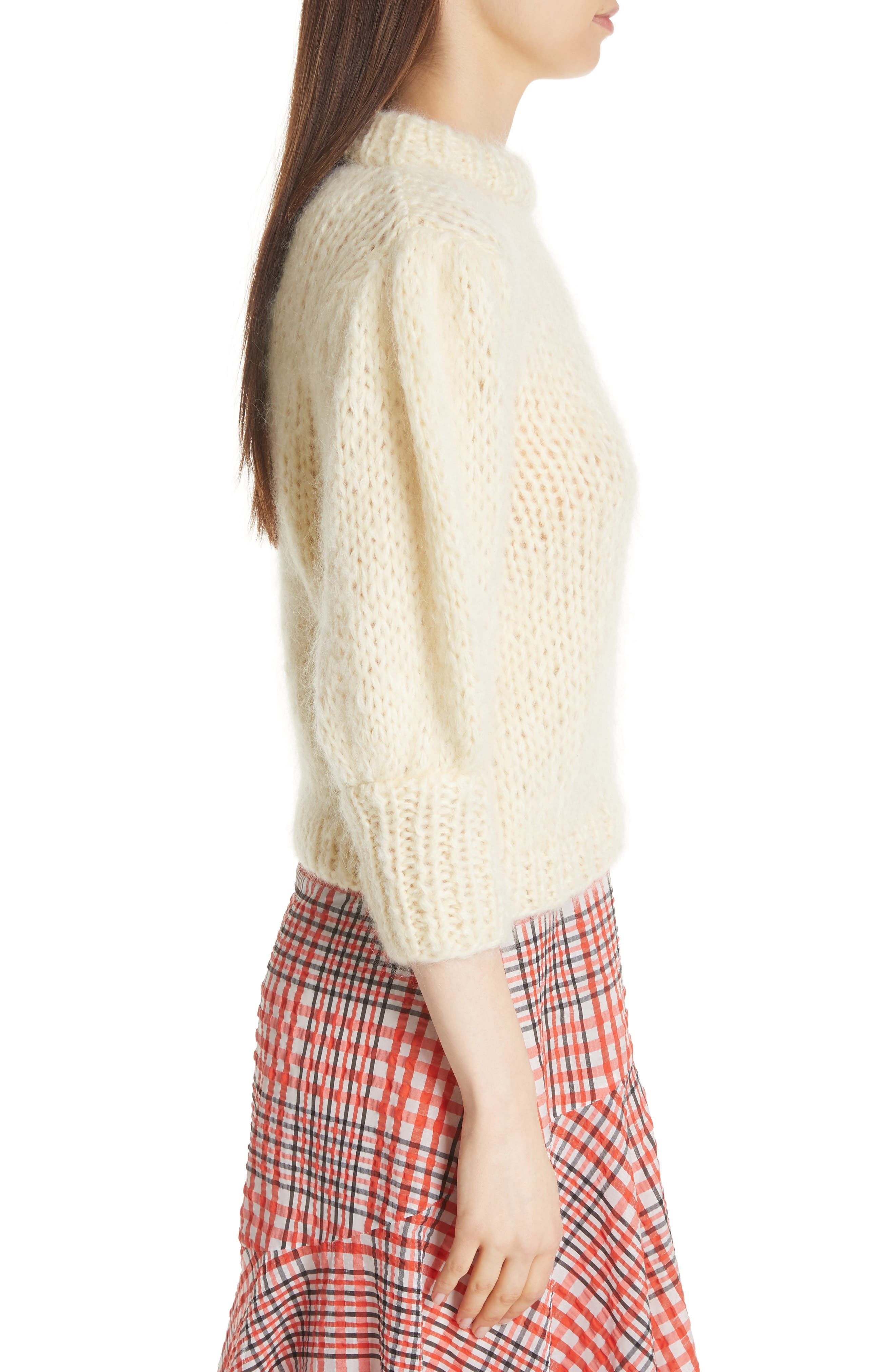 Juilliard Mohair & Wool Puff Sleeve Sweater,                             Alternate thumbnail 3, color,                             900