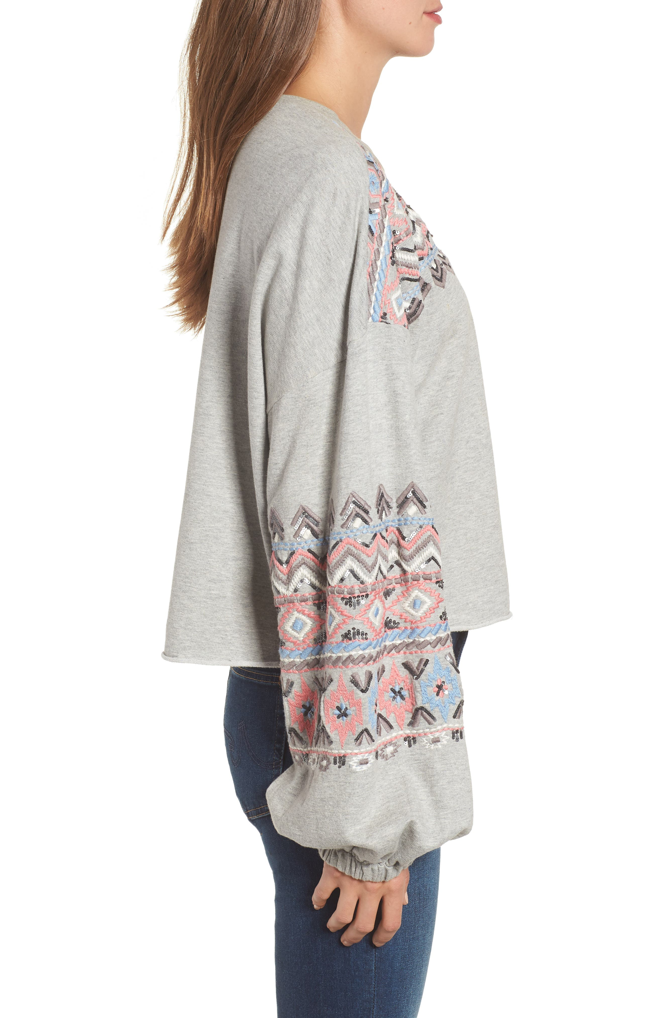 Embroidered Beaded Sweatshirt,                             Alternate thumbnail 3, color,                             GREY