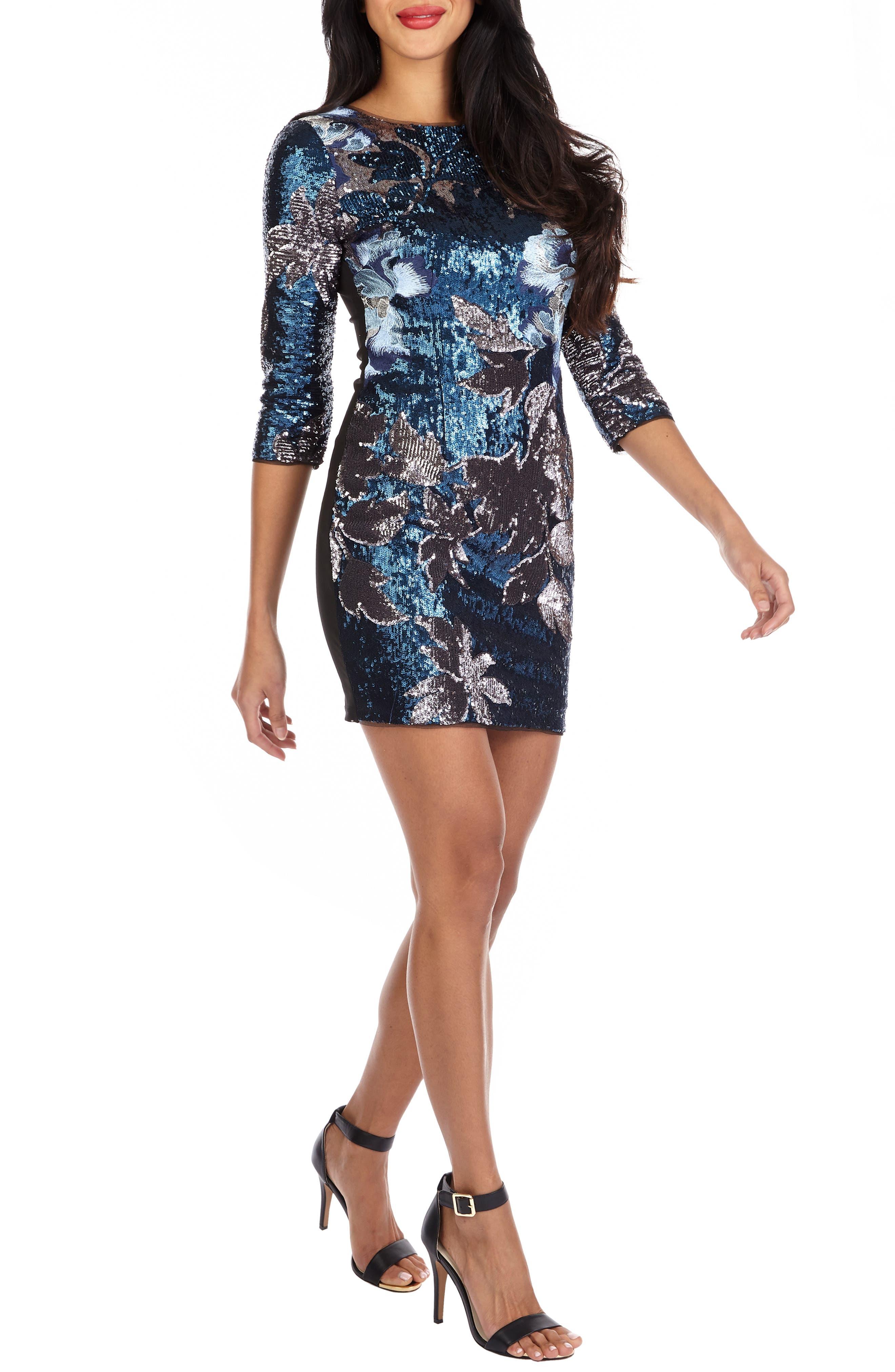 TFNC Paris Basma Sequin Body-Con Dress, Main, color, NAVY