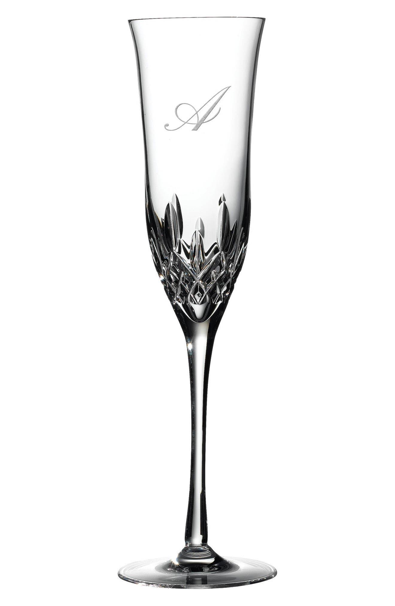 Lismore Essence Set of 2 Monogram Lead Crystal Champagne Flutes,                             Main thumbnail 15, color,